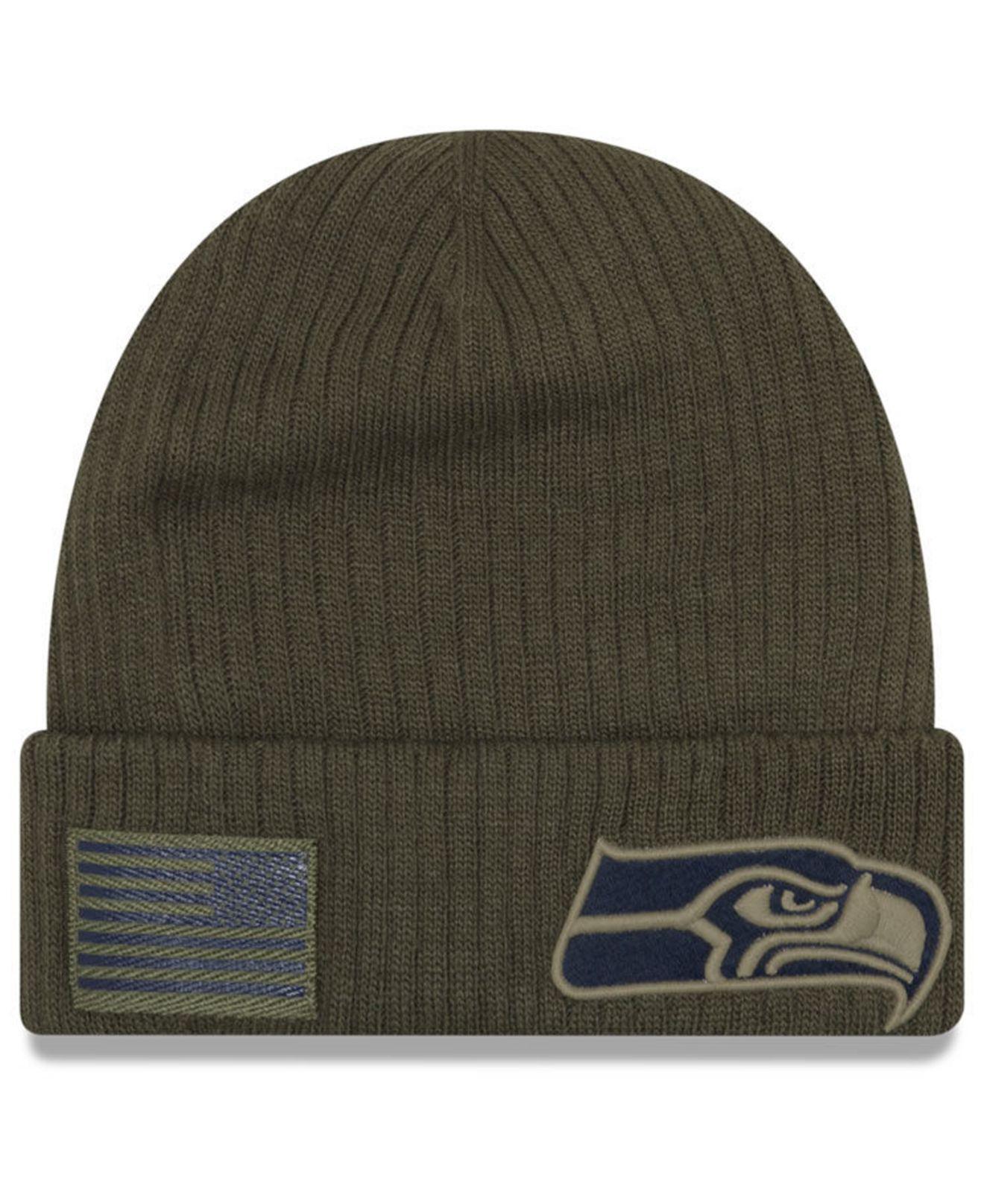 Lyst - Ktz Seattle Seahawks Salute To Service Cuff Knit Hat in Green for Men 795034c5d