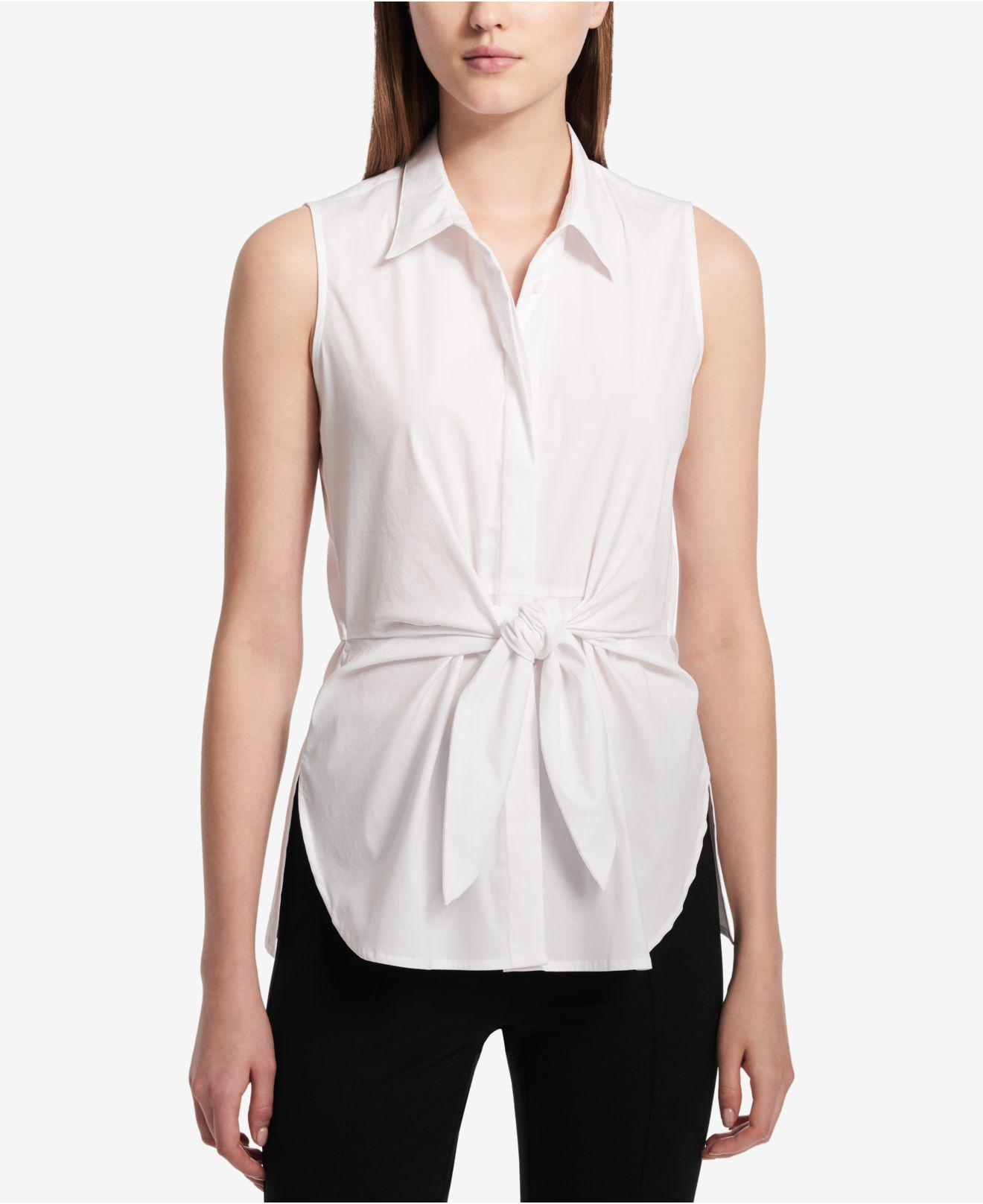 2a607743417215 Lyst - Calvin Klein Tie-front Sleeveless Blouse in White