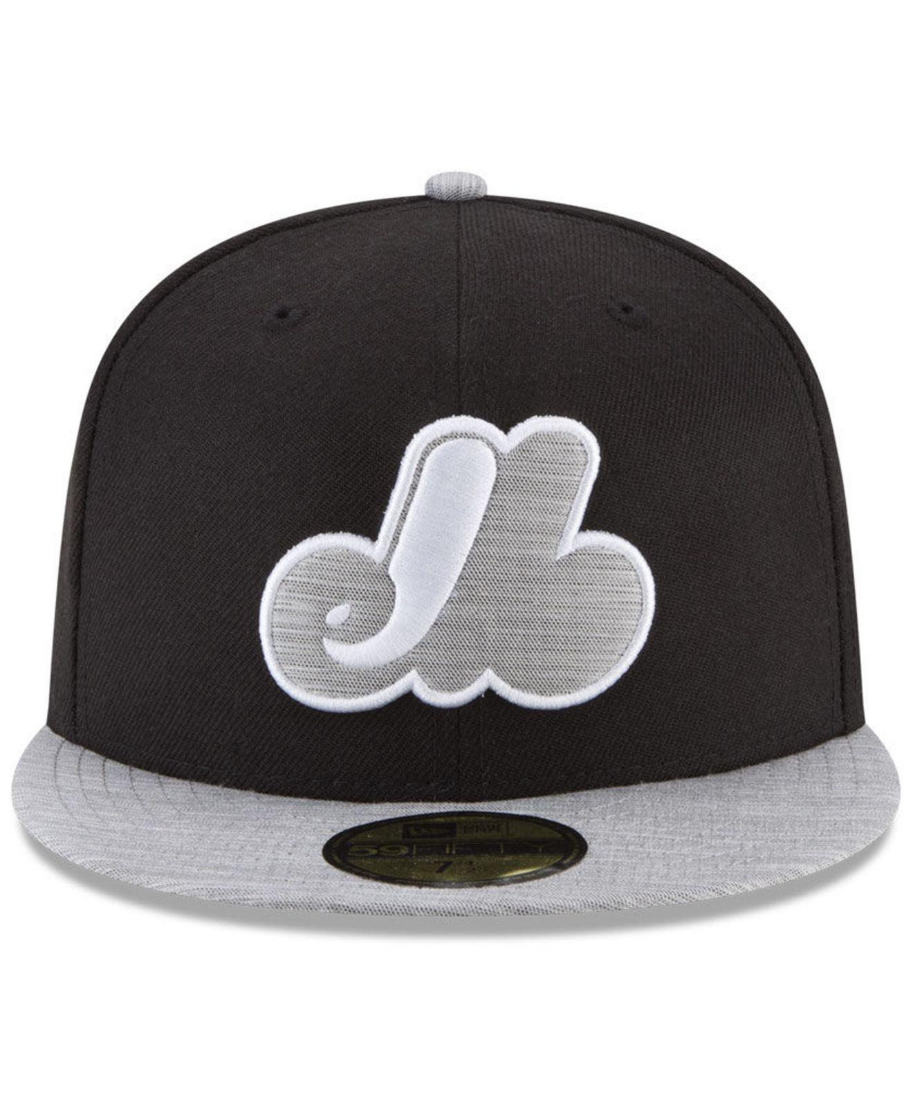 size 40 52ccb 2c9cd KTZ - Montreal Expos Black Heather Coop 59fifty Fitted Cap for Men - Lyst.  View fullscreen