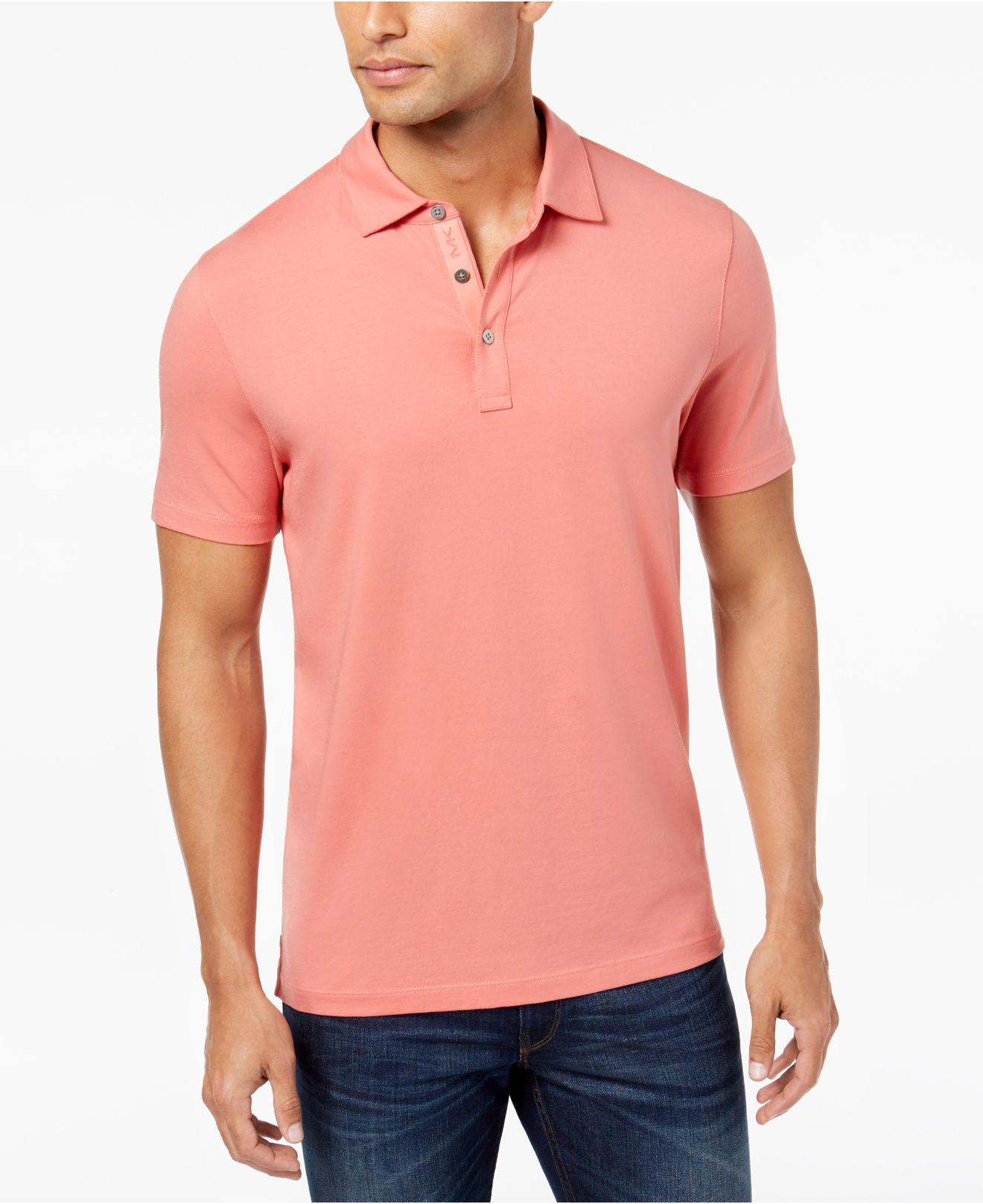 500094b4dfb28 Michael Kors Men s Bryant Stretch Polo in Pink for Men - Lyst