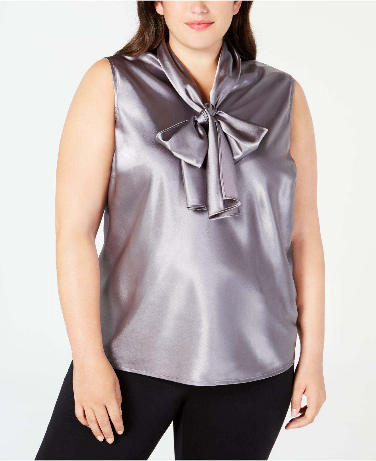 bdce6abb95a23 Lyst - Nine West Plus Size Tie-neck Sleeveless Camisole