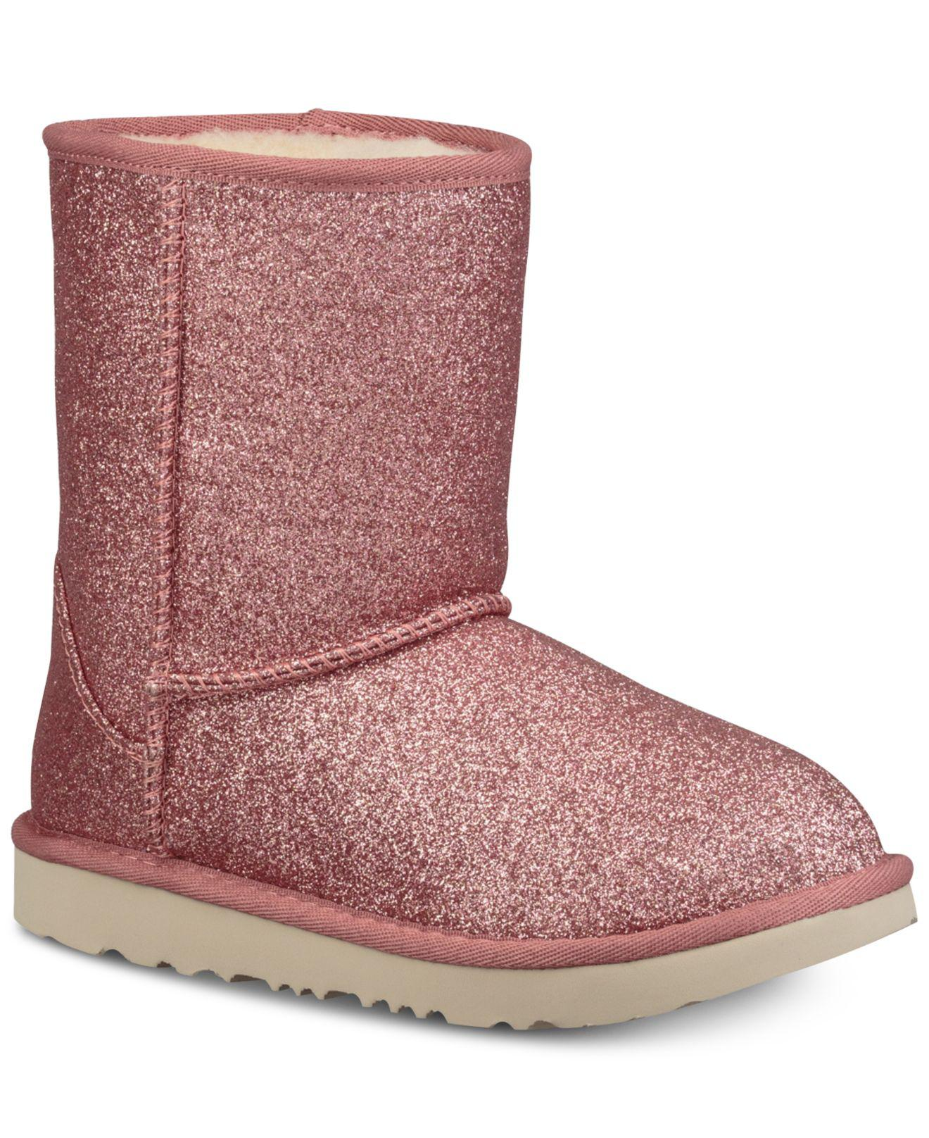 UGG. Women's Pink Toddler Classic Short Ii Glitter Boots