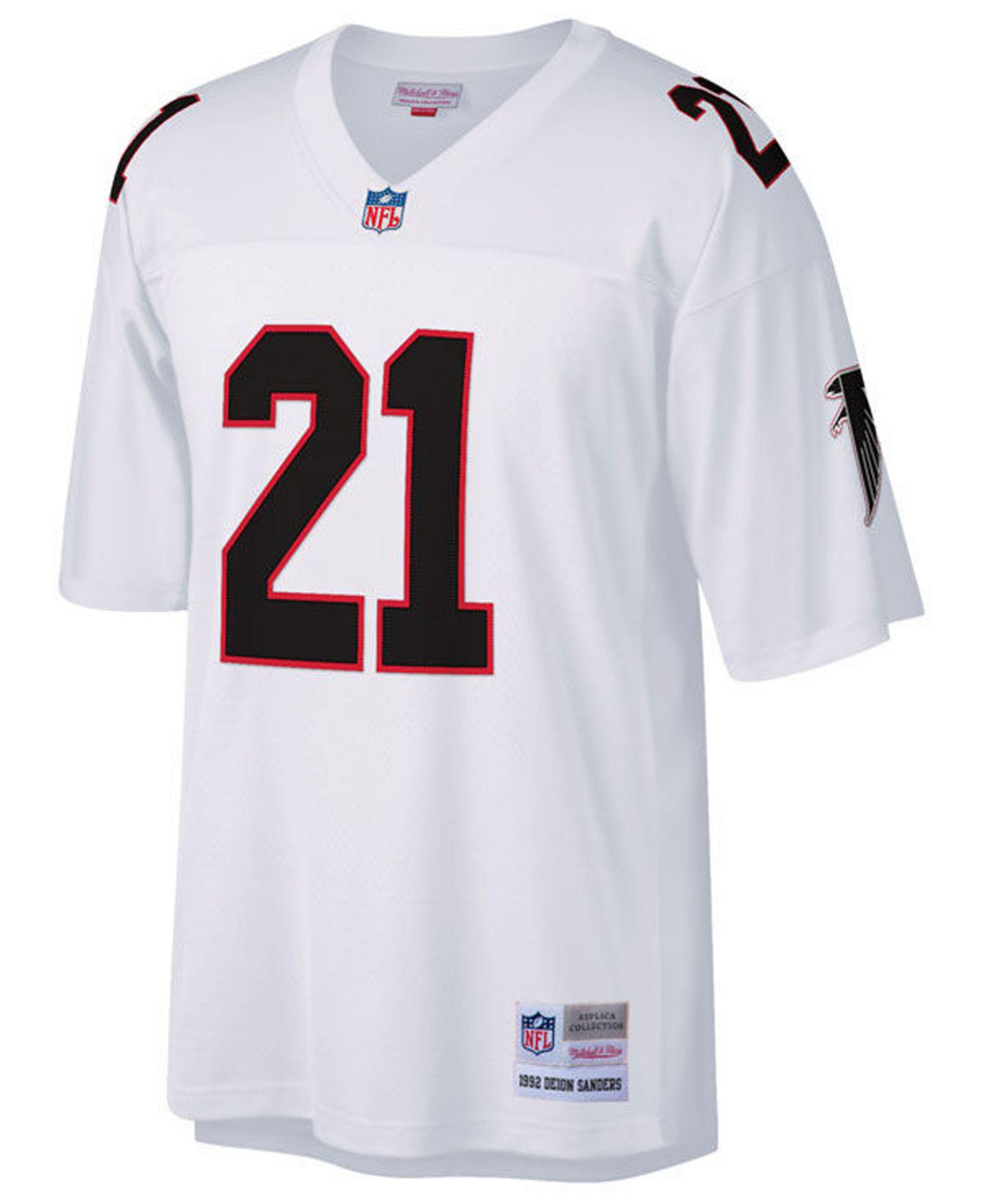3d6f8a9e03a Mitchell   Ness Deion Sanders Atlanta Falcons Replica Throwback Jersey in  White for Men - Lyst