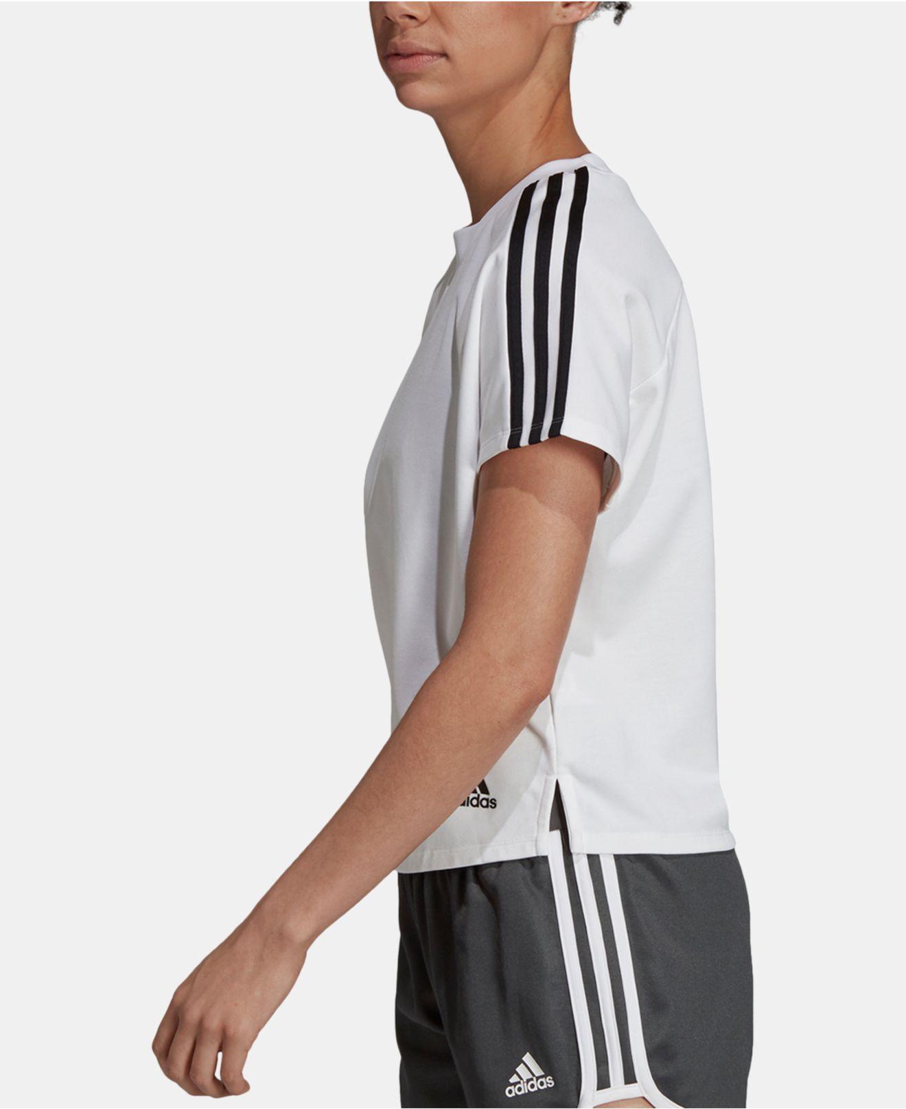 93920937c92e9c Adidas - White 3-stripe Cropped T-shirt - Lyst. View fullscreen