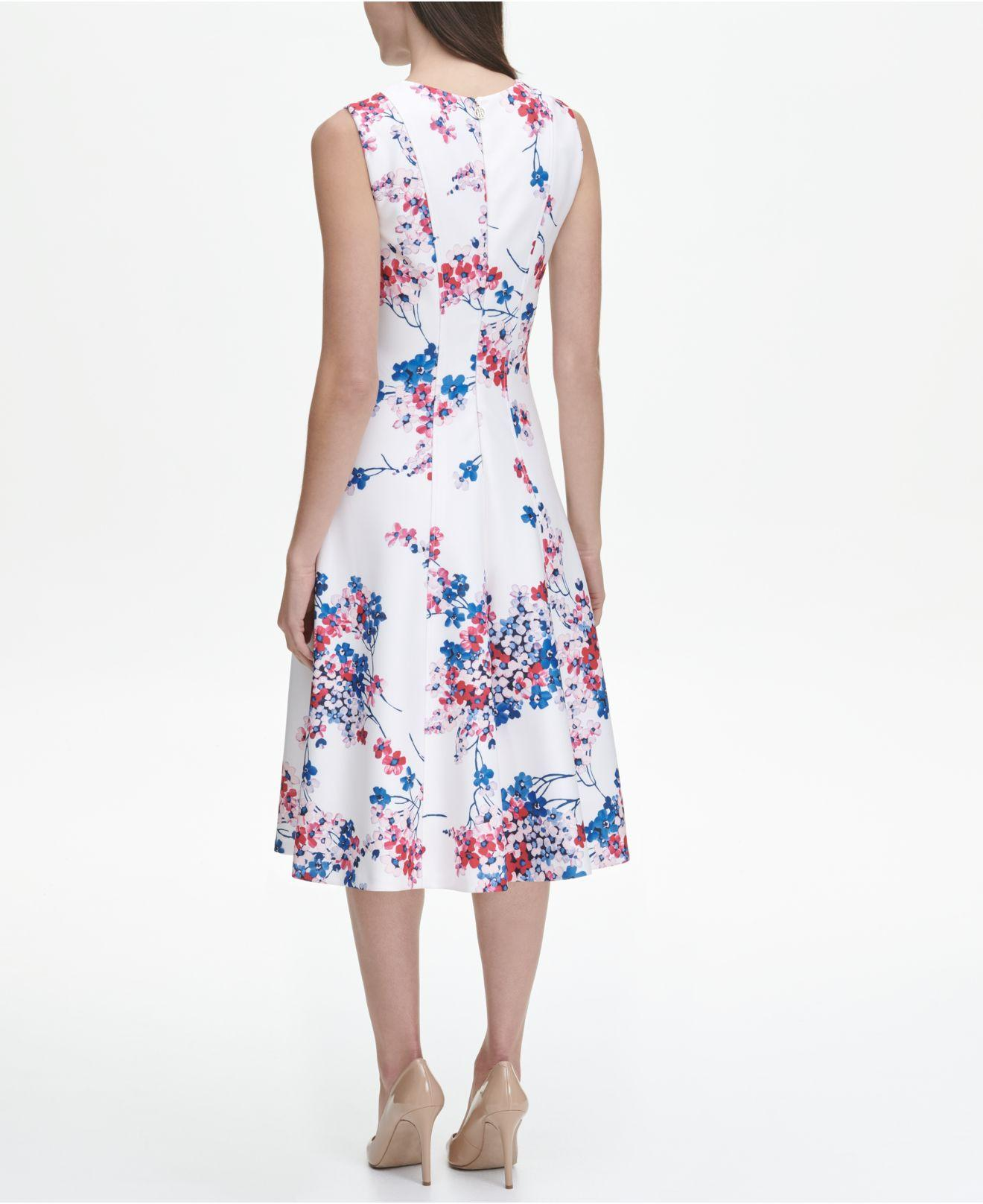 42d50aa3592f Lyst - Tommy Hilfiger Eloise Floral Sleeveless Scuba Fit And Flare Midi  Dress in Blue