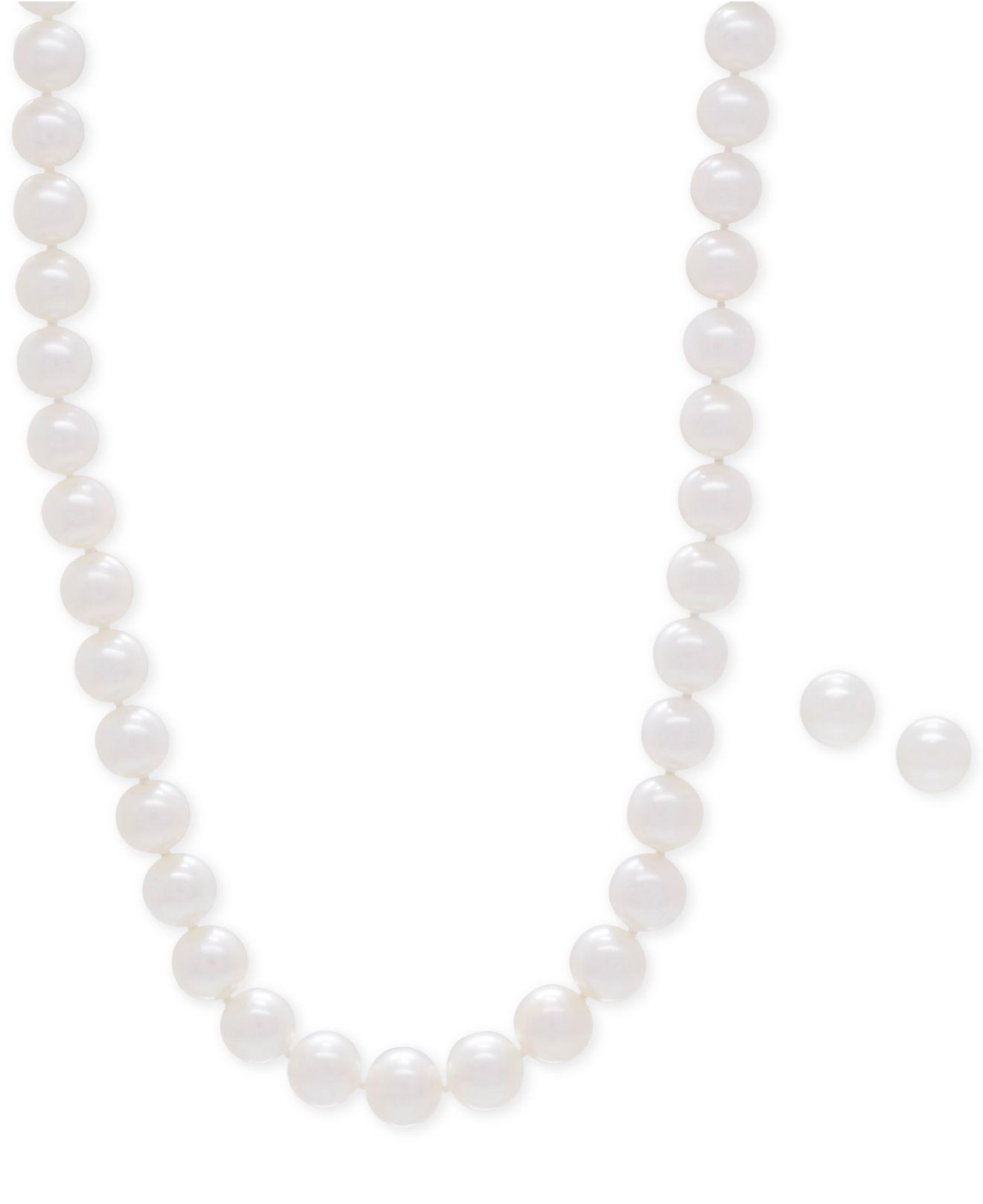 3efa901409 Macy's. Women's Metallic Cultured Freshwater Pearl Collar Necklace (9mm)  And Matching Stud Earrings ...