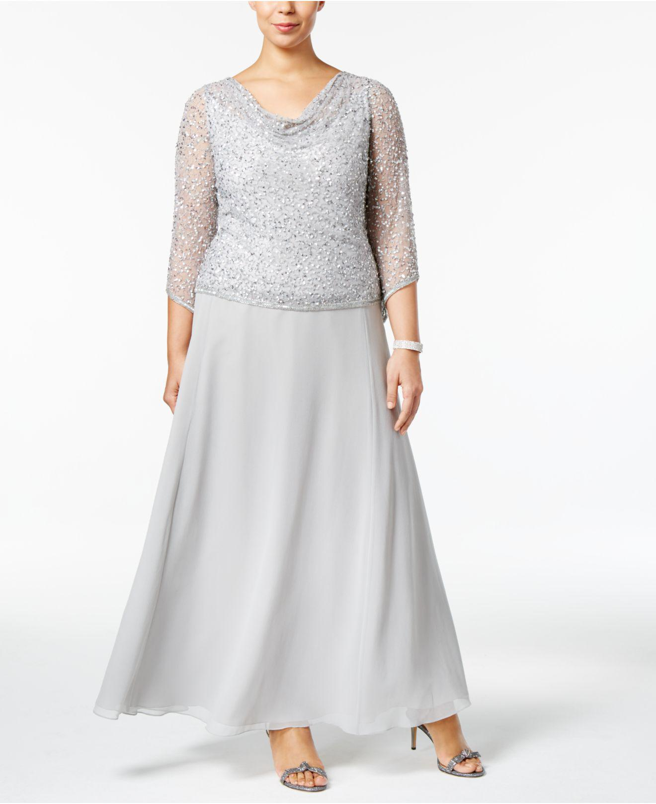 J kara Plus Size Draped Sequined Gown in Metallic | Lyst