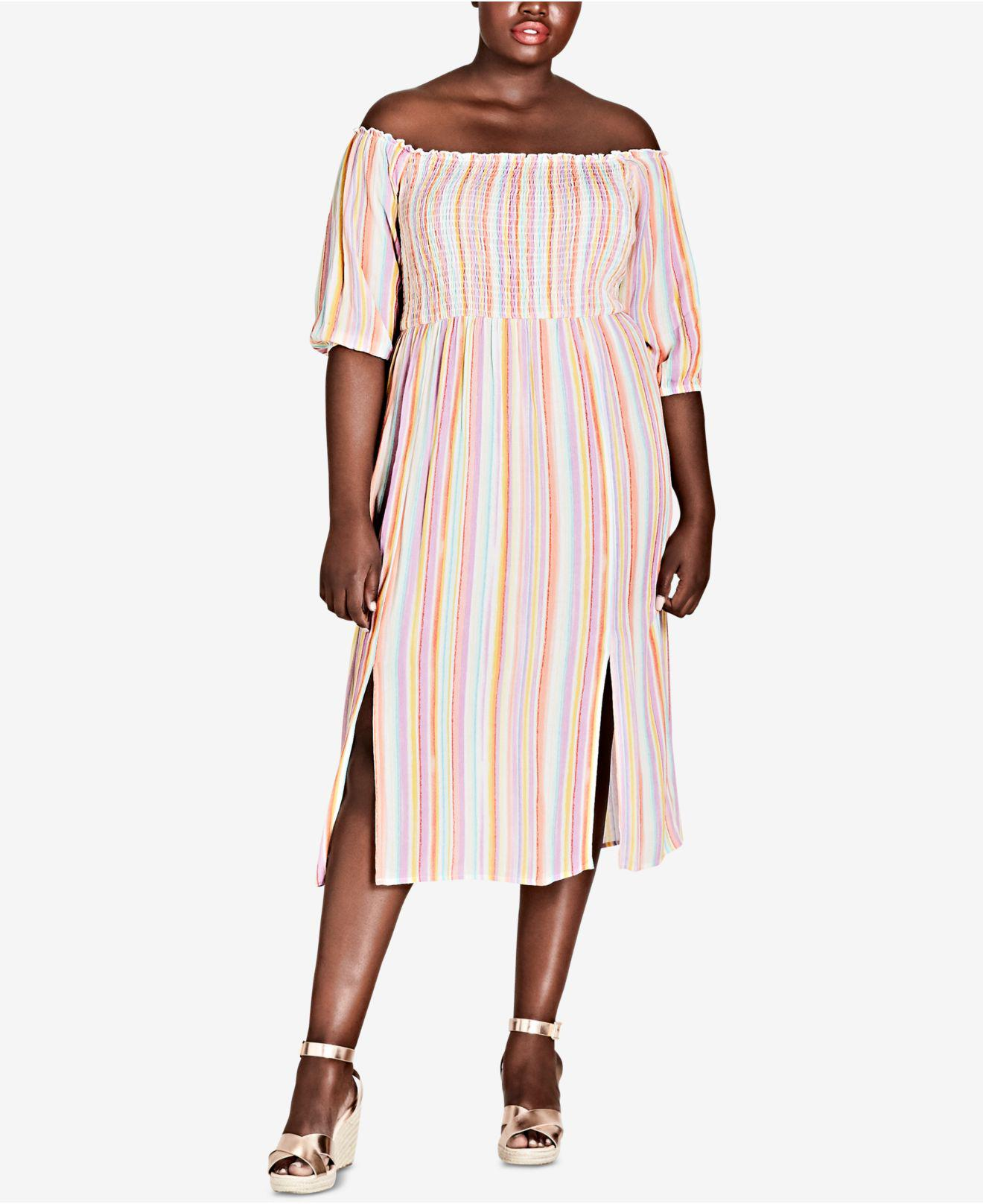 9406f81a0ad6a Lyst - City Chic Trendy Plus Size Off-the-shoulder Midi Dress in ...