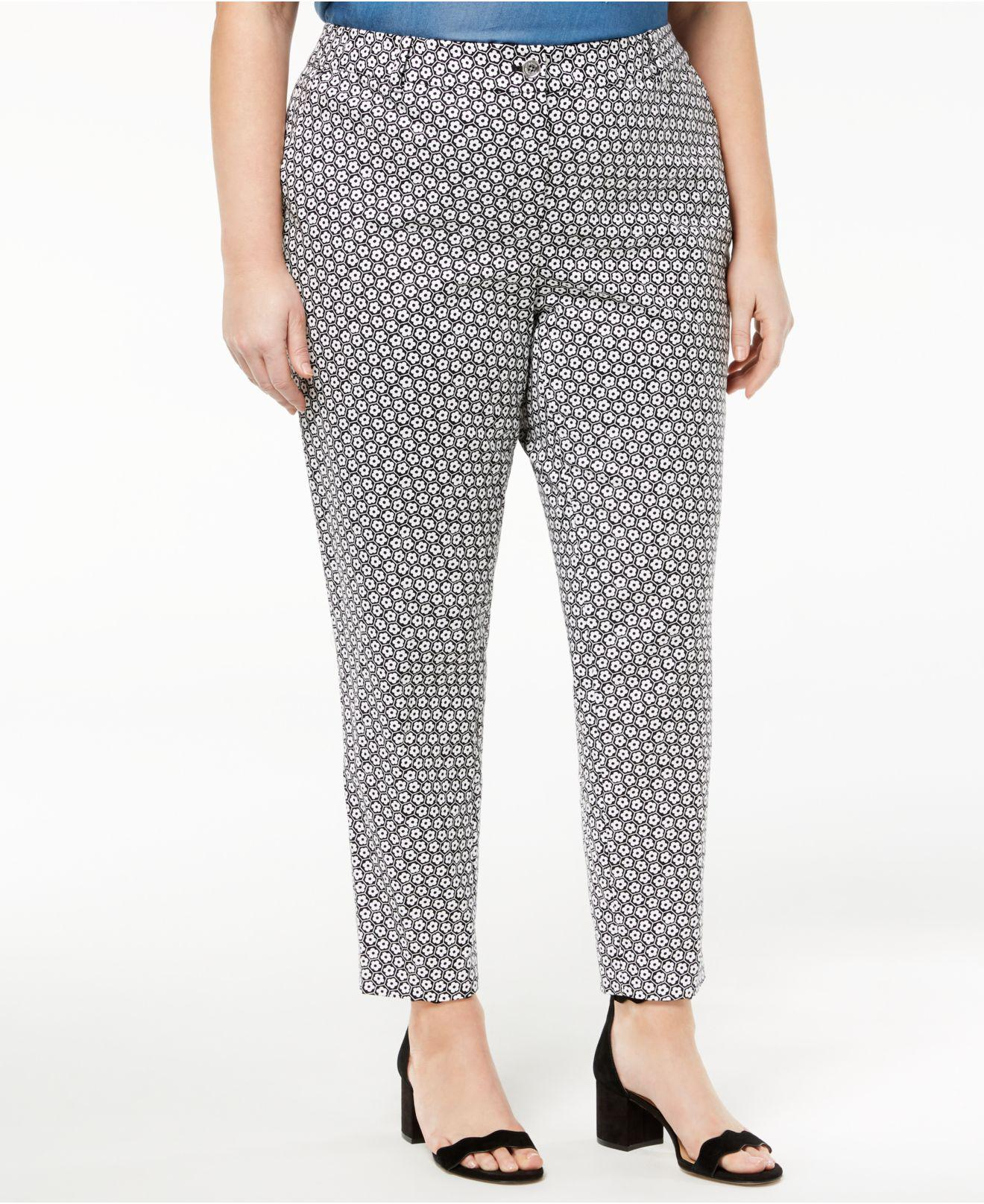 24b42490a11f6 Michael Kors Michael Plus Size Printed Ankle Pants in Black - Lyst