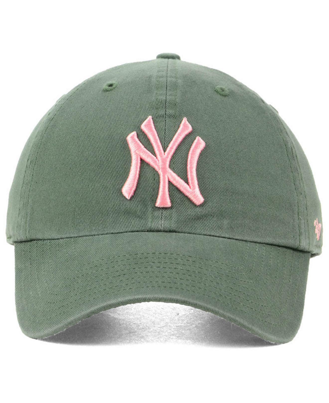 9bf0daae711 Lyst - 47 Brand New York Yankees Moss Pink Clean Up Cap in Green
