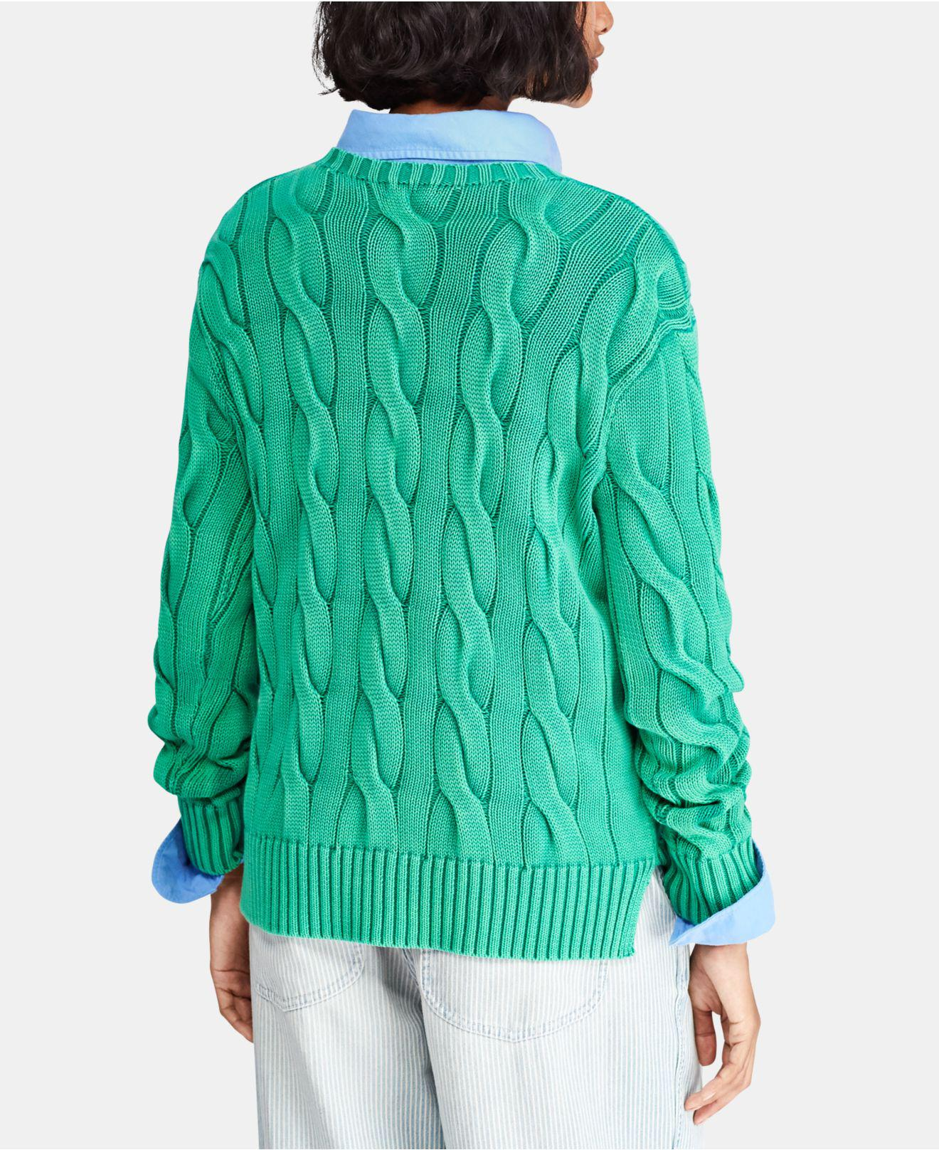 3a5b5ee885 Lyst - Polo Ralph Lauren Cable-knit Cotton Sweater in Green