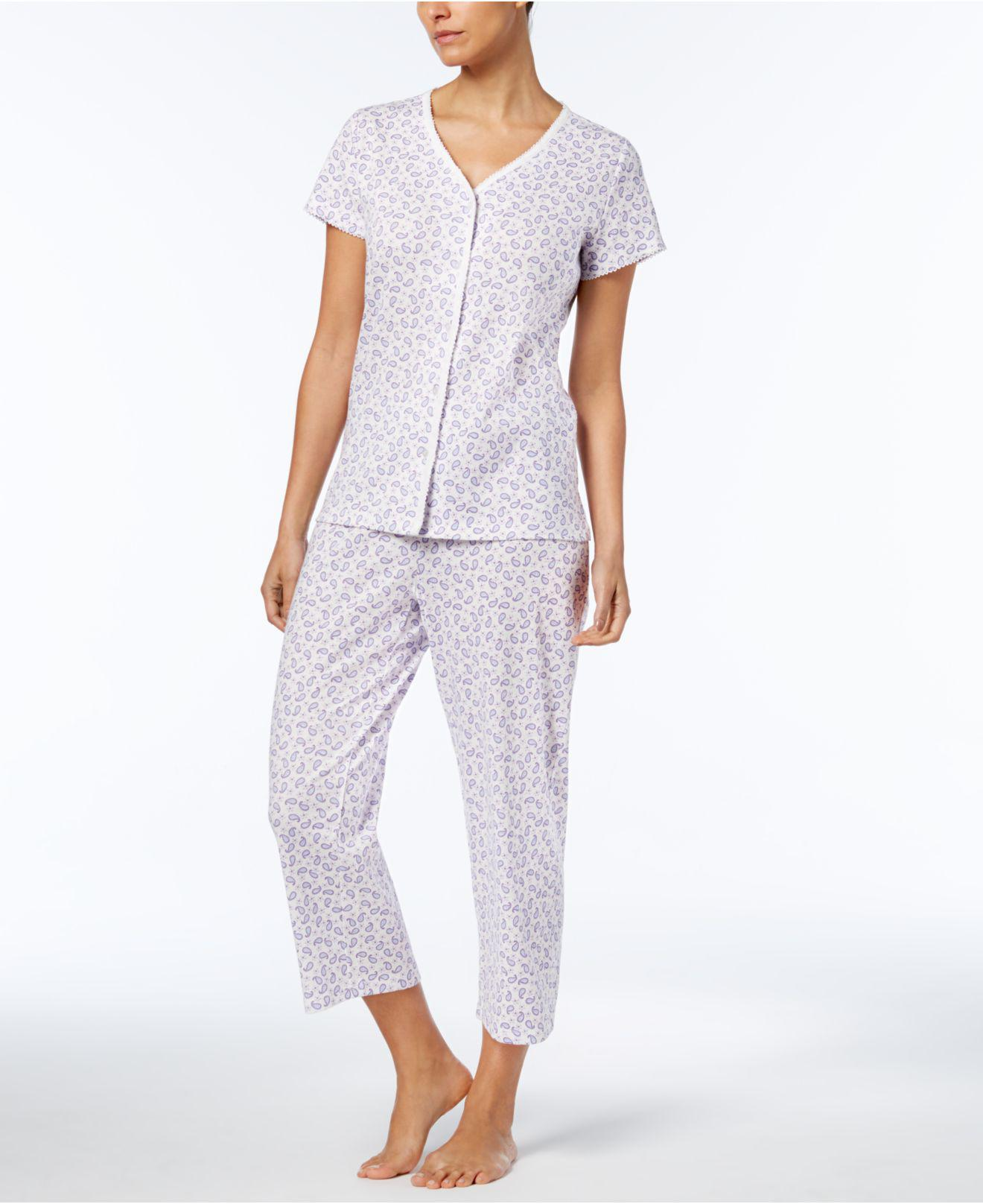 1a0b59c2a8 Lyst - Charter Club Petite Cropped Cotton Pajama Set