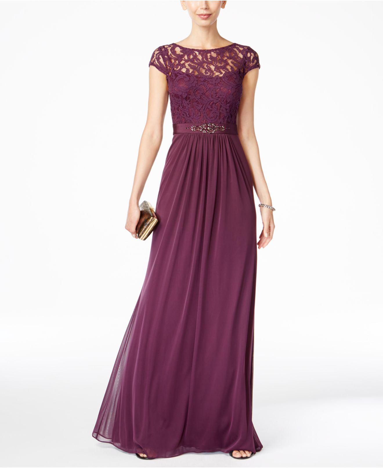 0c69c1528f2b7 Lyst - Adrianna Papell Cap-sleeve Lace Gown in Purple