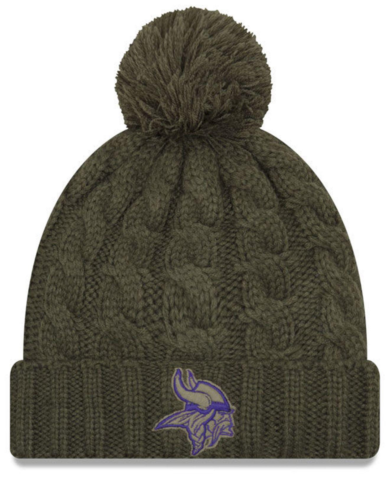 new style 3ff33 ef648 ... usa ktz. womens green minnesota vikings salute to service pom knit hat  40a9d 6f89a