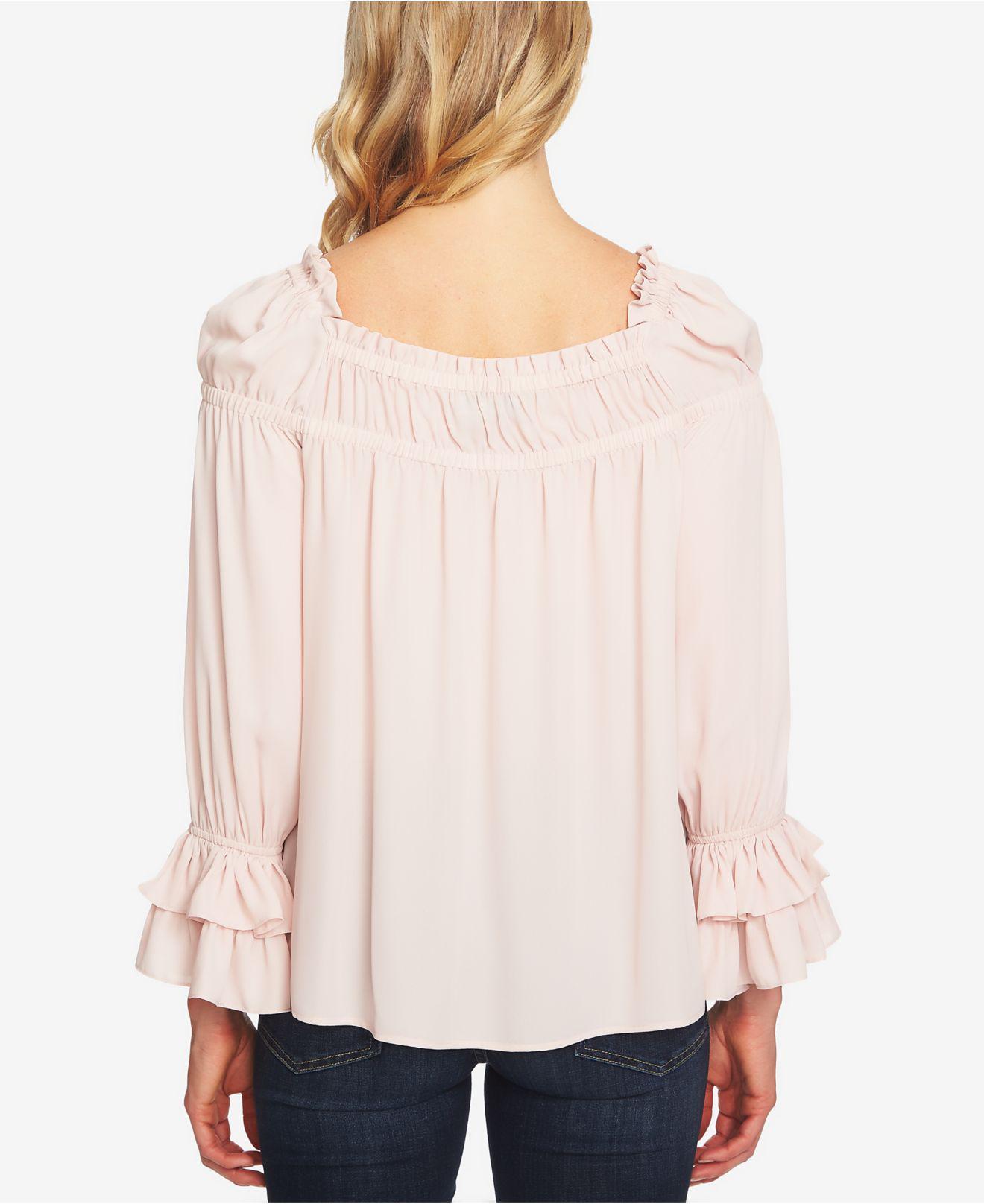 b2d4be8df79a3b Cece Ruffled Puff-shoulder Top in Pink - Lyst