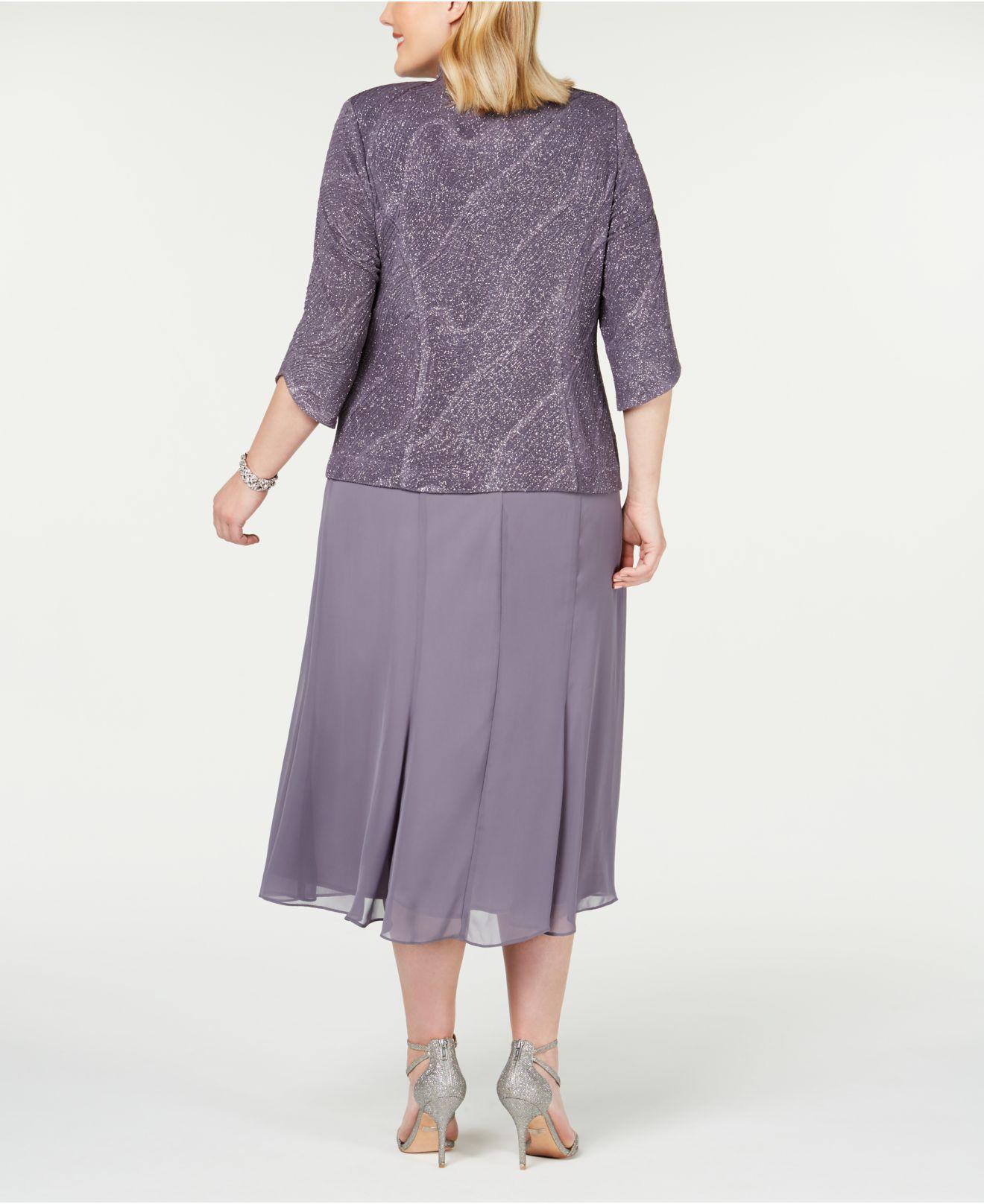 049f79f0f388f Lyst - Alex Evenings Plus Size Tea-length Dress & Jacket in Purple