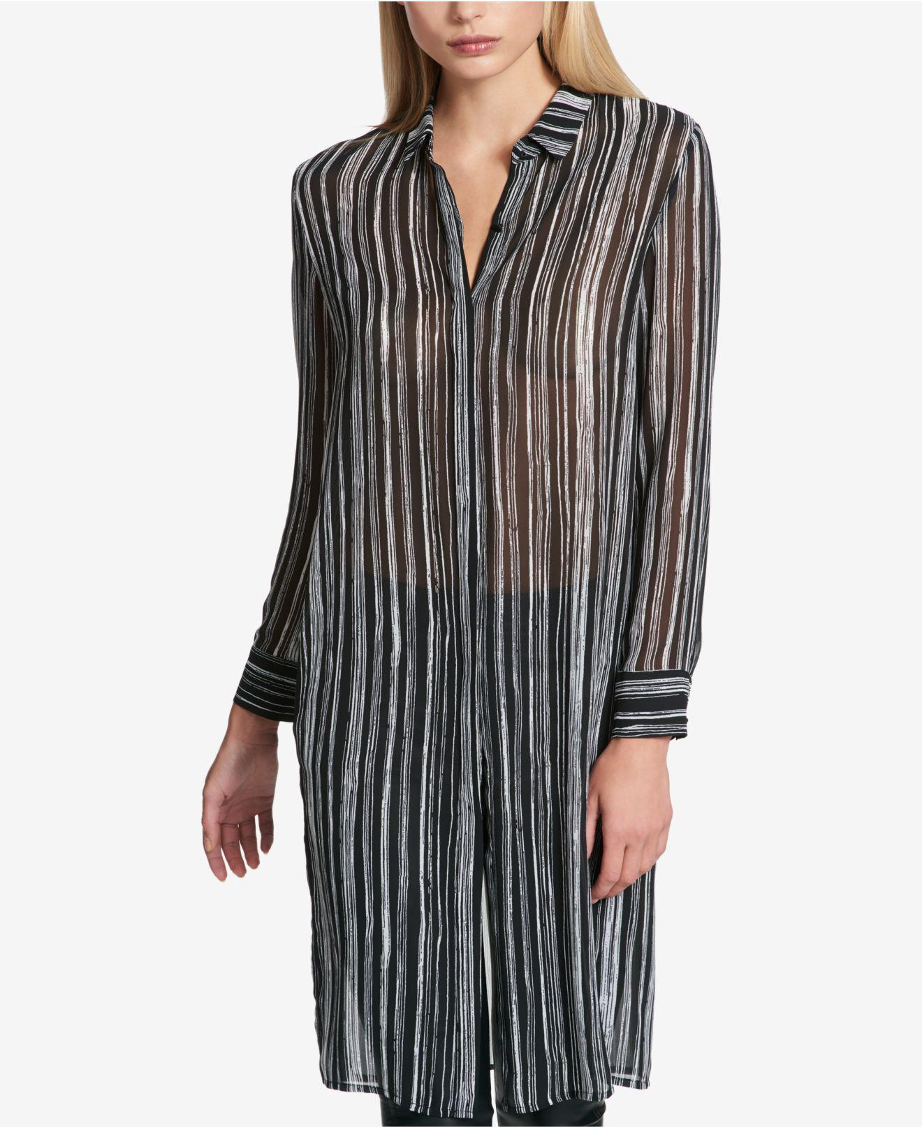 b647a0a29fa DKNY Striped Tunic Shirt in Black - Lyst