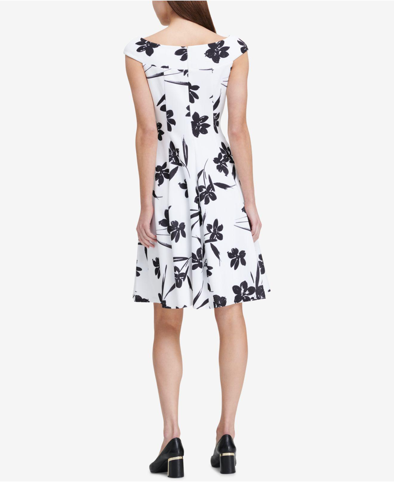 8b3ca551c97 Lyst - DKNY Printed Off-the-shoulder Fit   Flare Dress