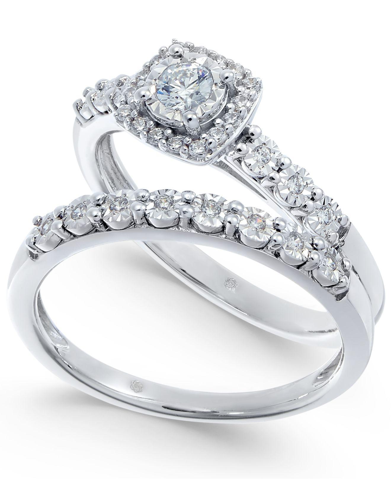 Macy s Diamond Halo Bridal Set 1 4 Ct T w In 14k White Gold in