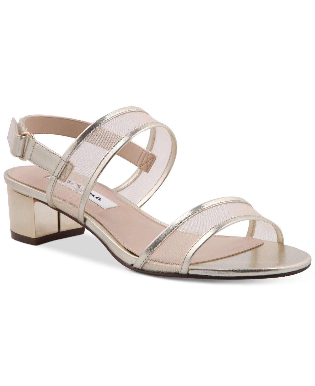 Nina Ganice Mesh & Satin Block Heel Dress Sandals HDDezeY0y