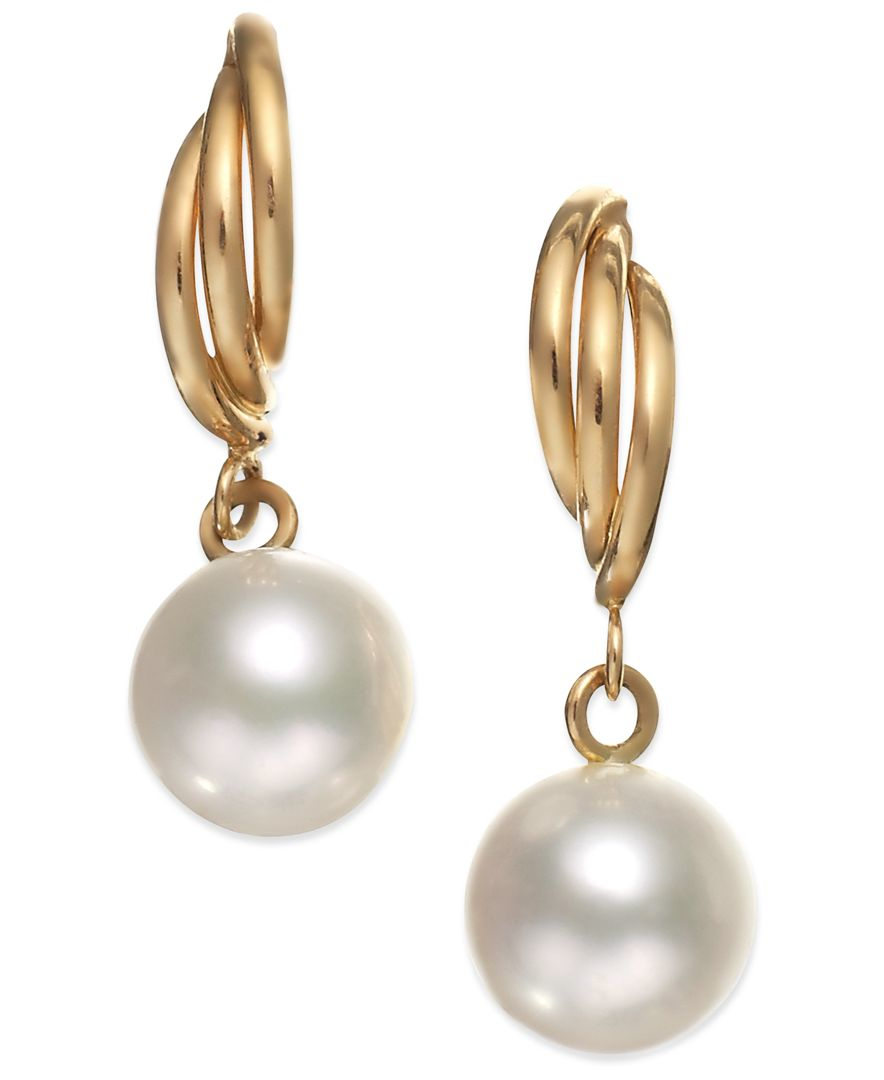 macy s pearl earrings macy s cultured freshwater pearl drop earrings in 14k gold 1948