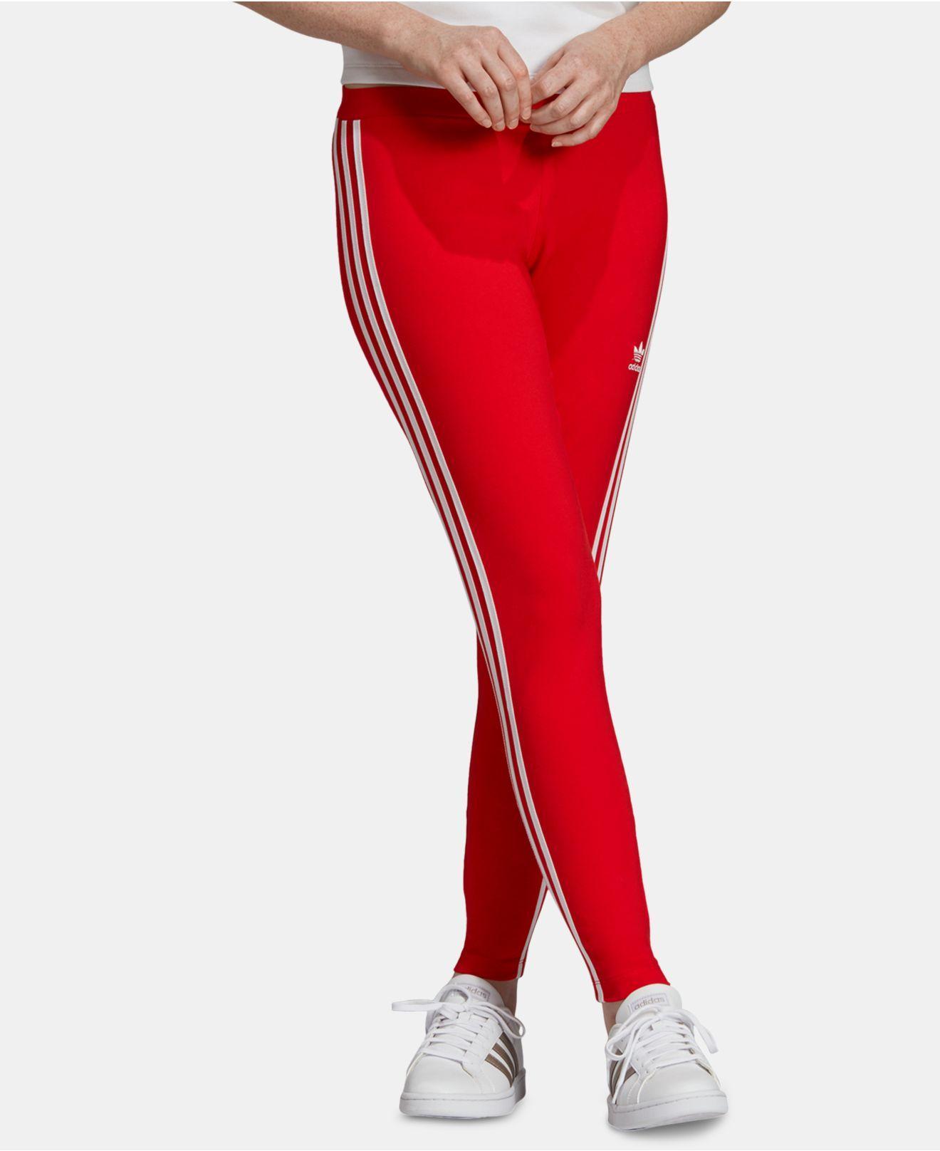 862f03f612d Lyst - adidas Originals Three-stripe Leggings in Red