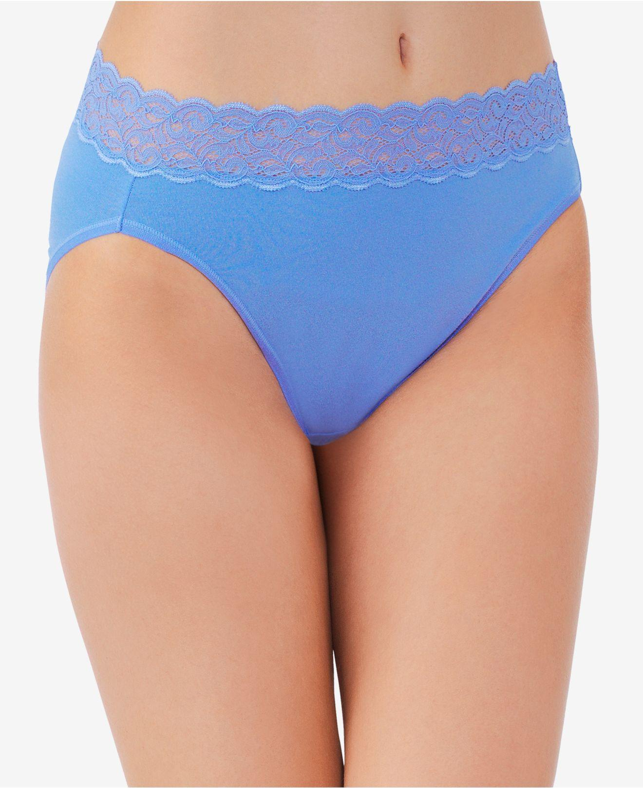 095717e082b Lyst - Vanity Fair Flattering Lace High-cut Brief 13395 in Blue