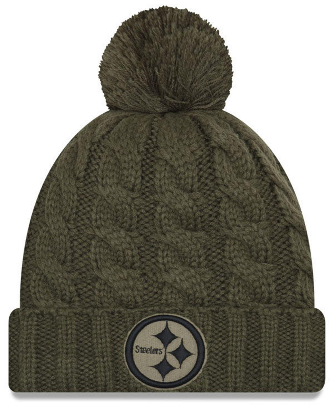 28ae933b0ba ... where to buy ktz. womens green pittsburgh steelers salute to service  pom knit hat 5eaf8