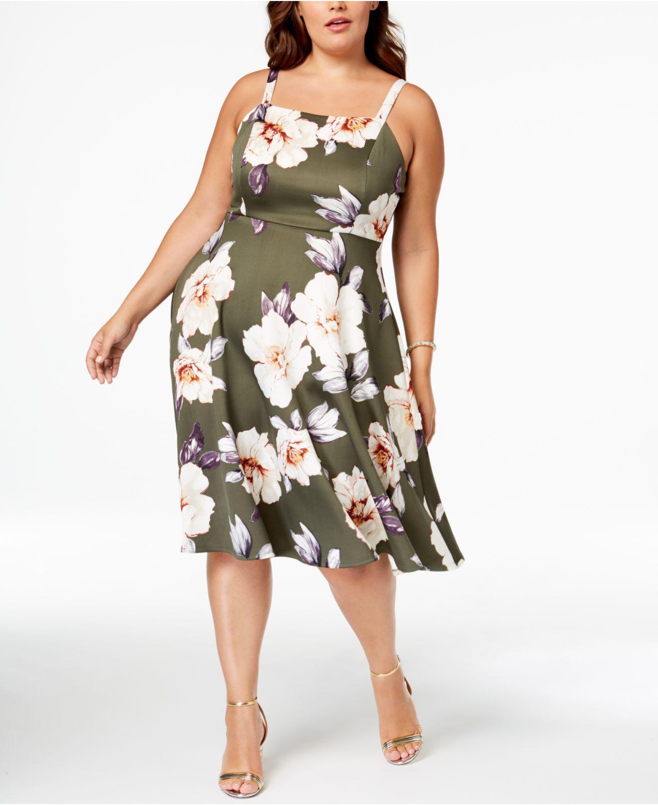 7c03157eab6 Lyst - Soprano Trendy Plus Size Floral-print Midi Dress in Green