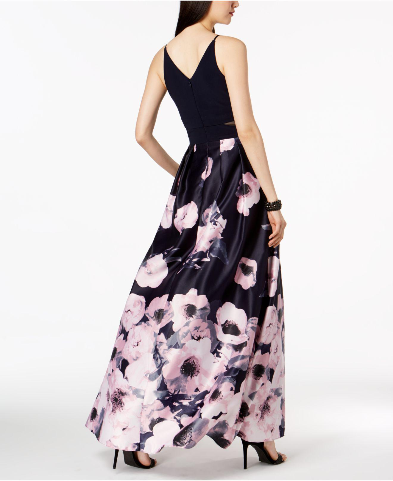 Lyst - Xscape Illusion-inset Solid & Floral-print Gown in Blue