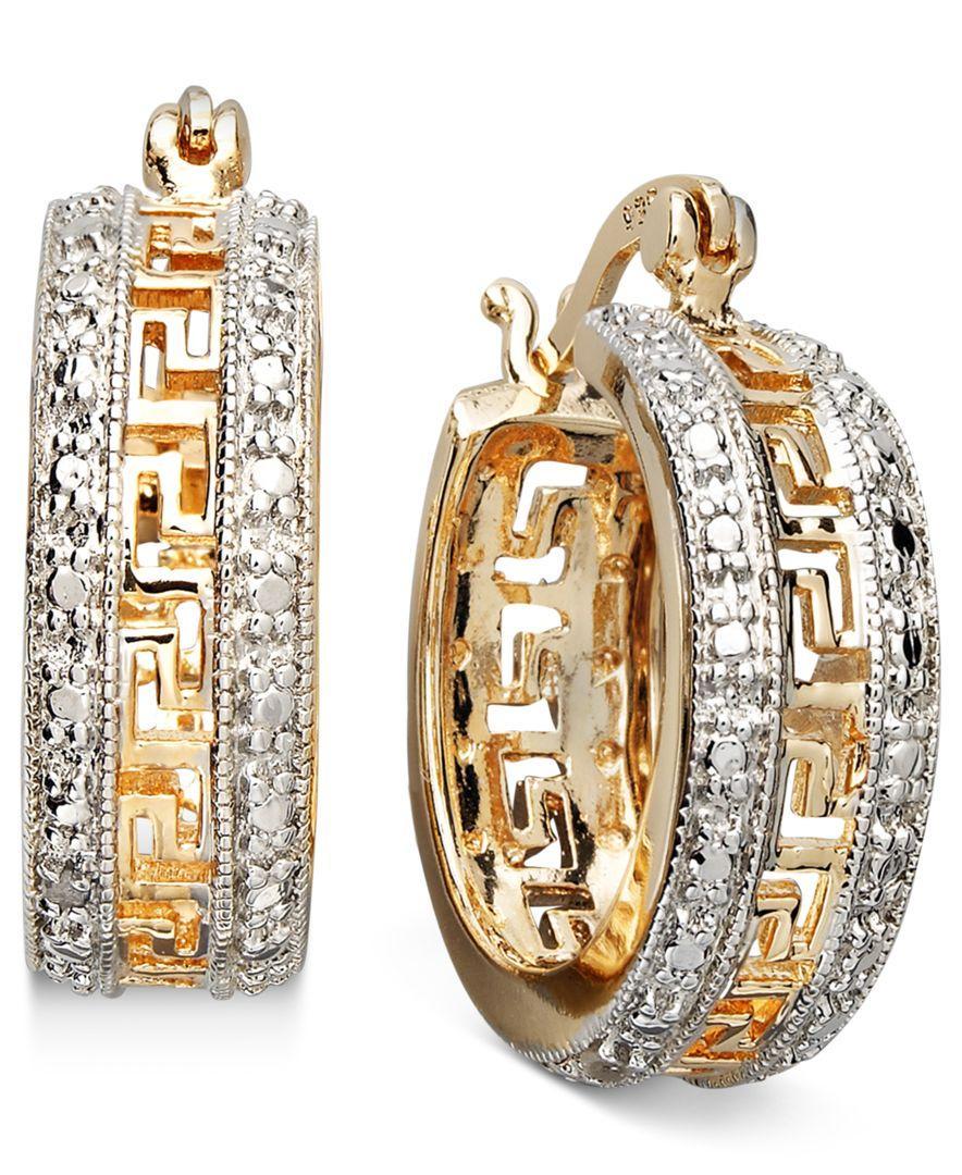 Macy S Silver Diamond Hoop Earrings
