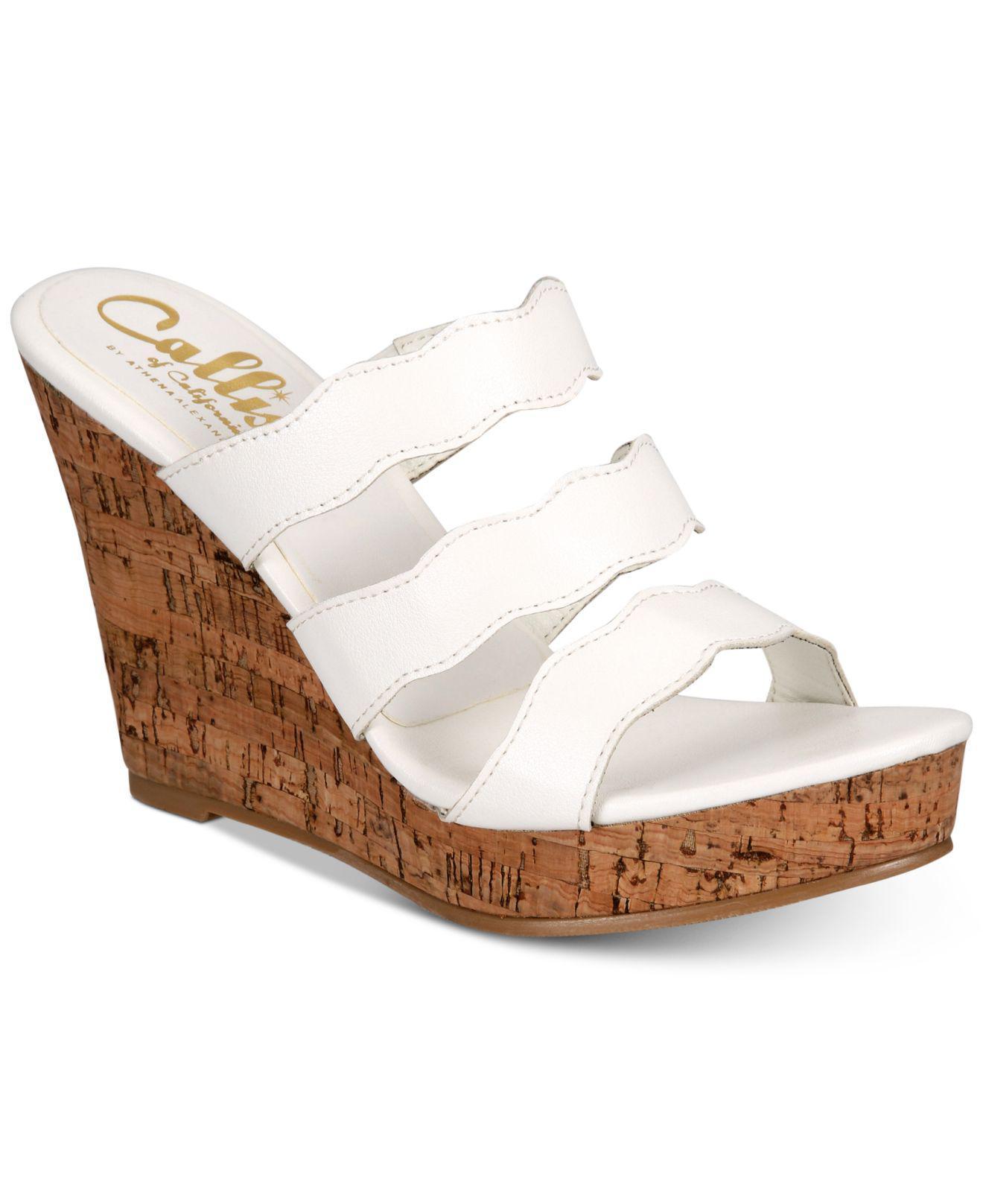400dab9fc537 Callisto Flure Slip-on Platform Wedge Sandals in White - Lyst