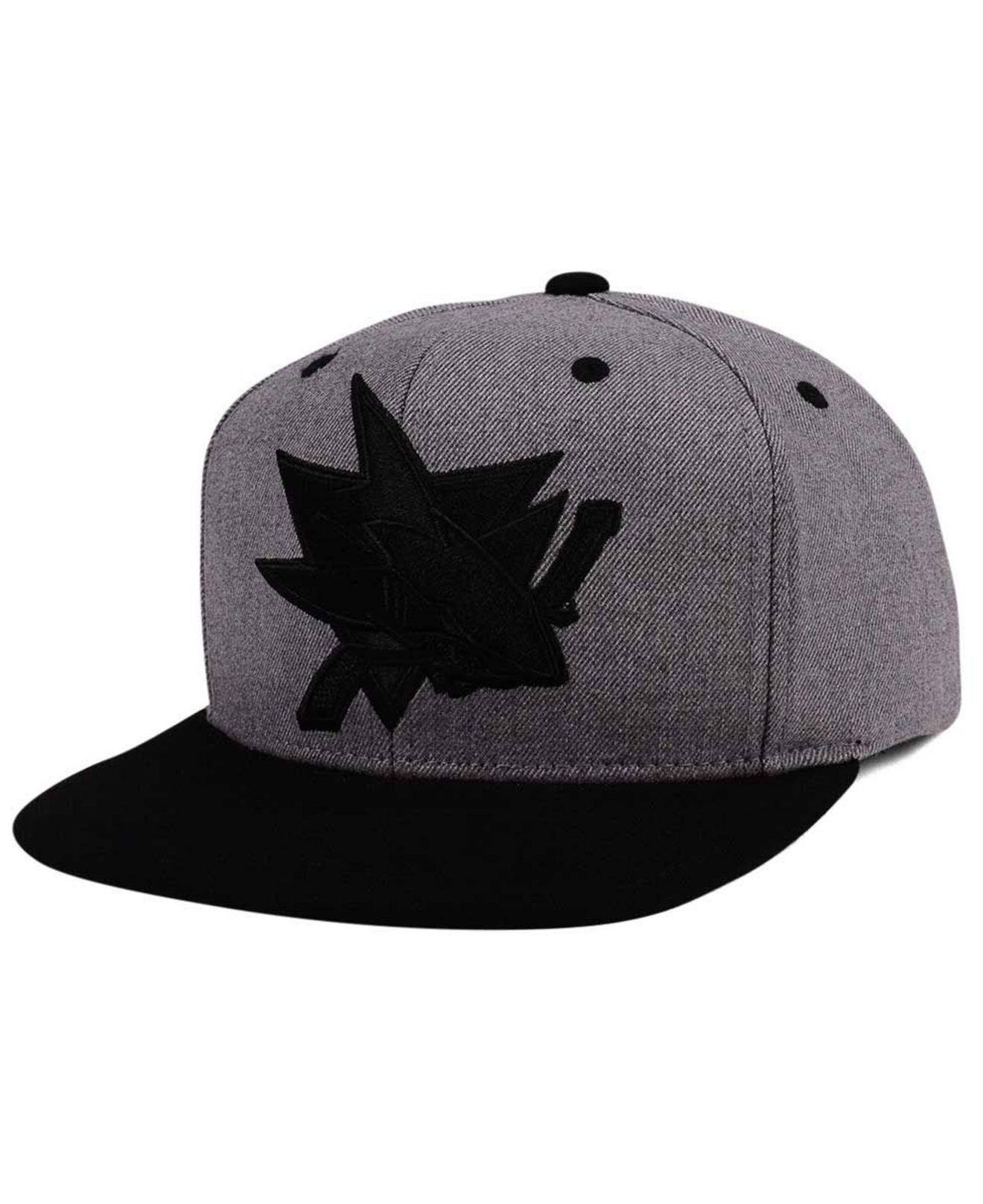 hot sales 1de62 11e0d ... italy lyst adidas san jose sharks 2 tone tonal snapback cap in black  for men 0a9b8