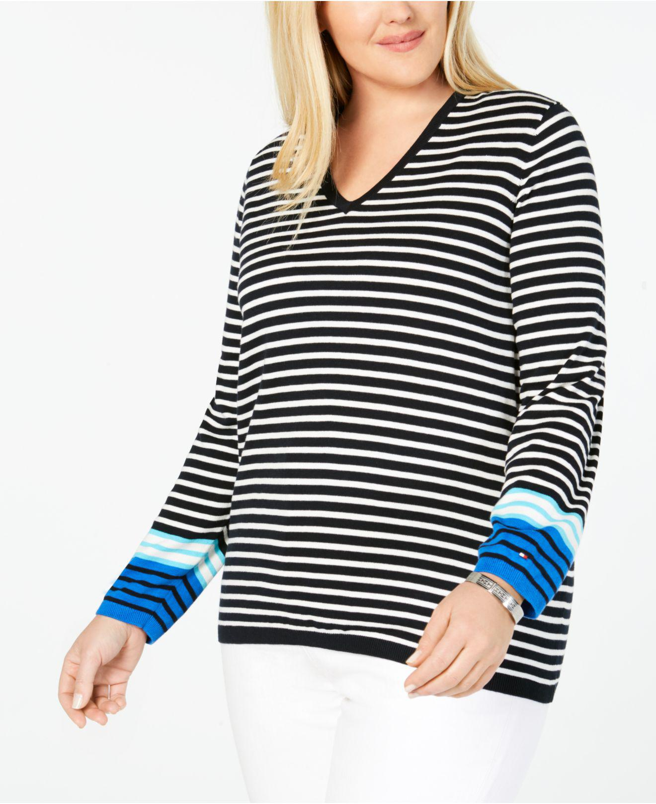 2cb9bb913 Lyst - Tommy Hilfiger Plus Size Cotton Striped V-neck Sweater ...