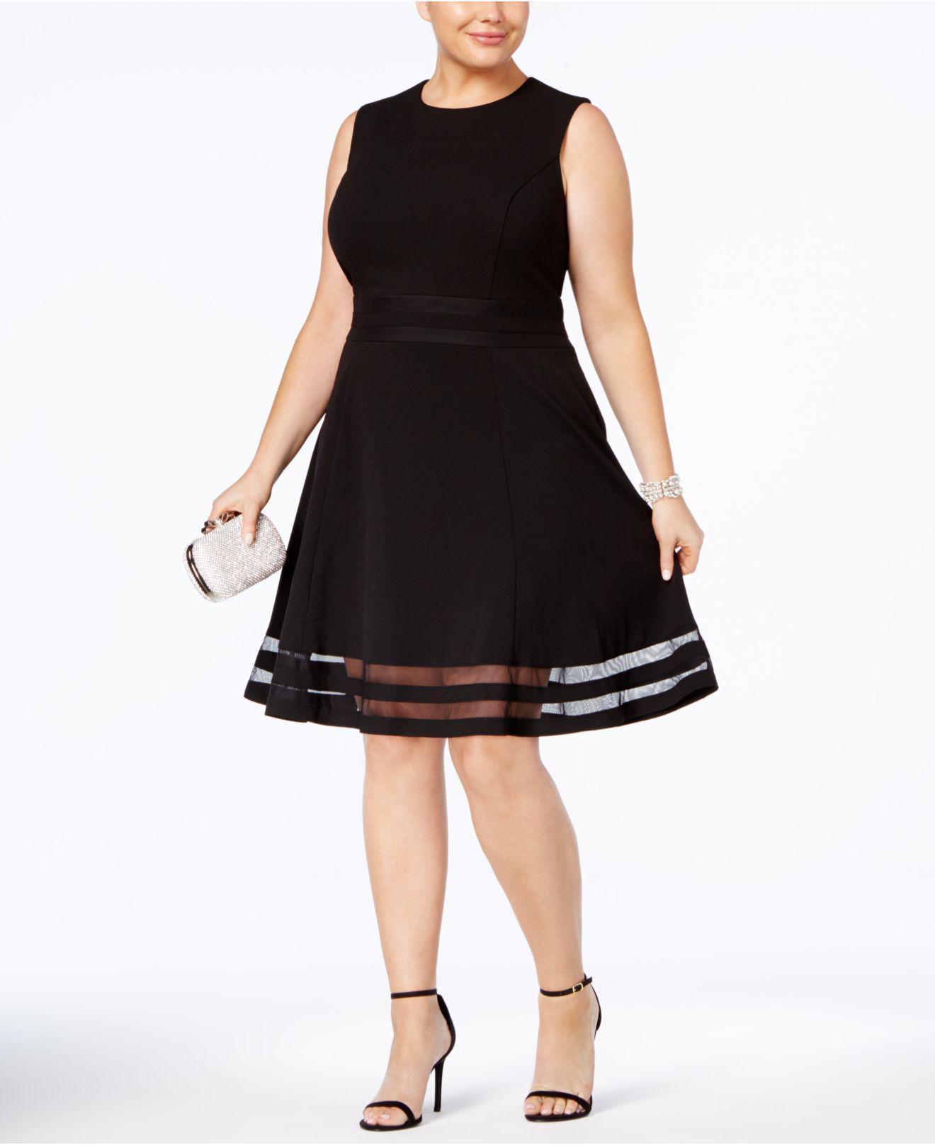 49716bac5ba02 Lyst - Calvin Klein Plus Size Illusion-trim Fit   Flare Dress in Black