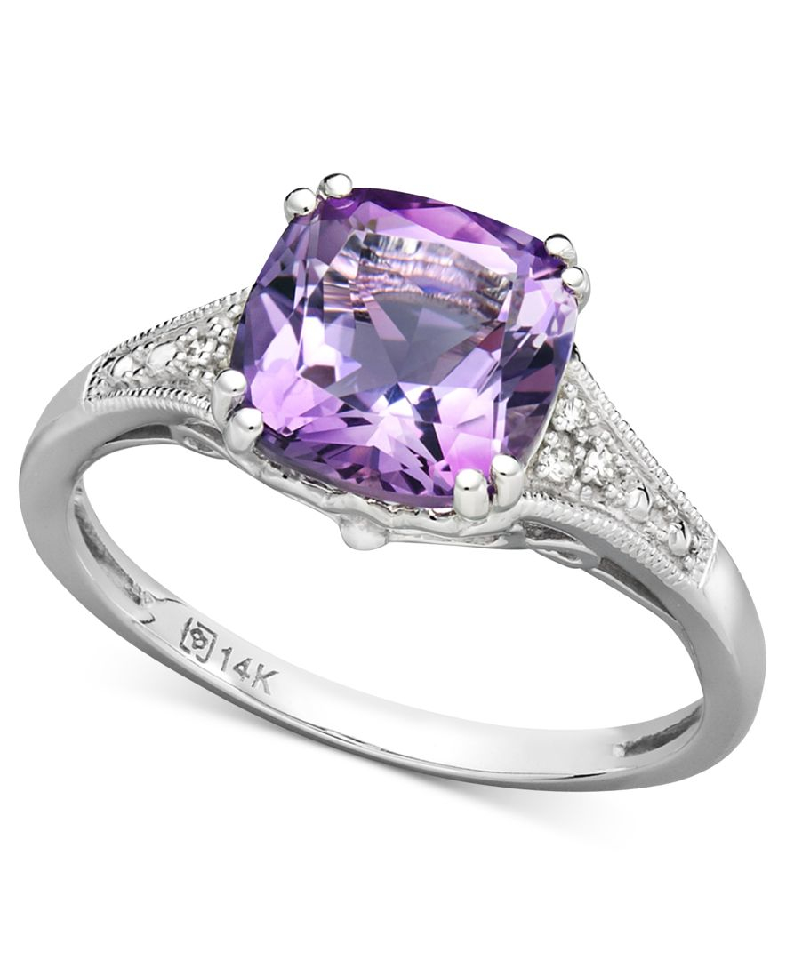 Macy s 14k White Gold Ring Amethyst 2 1 5 Ct T w And Diamond Accent