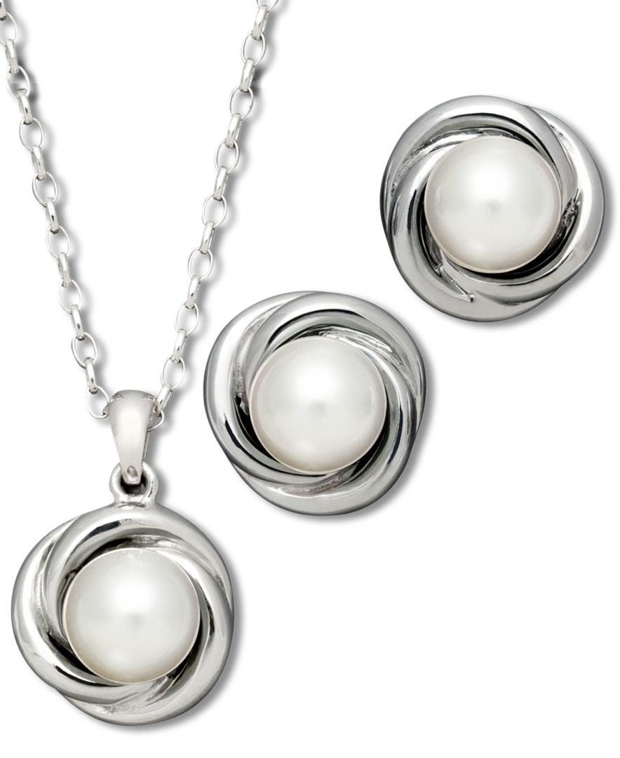 macy s pearl jewelry set sterling silver cultured
