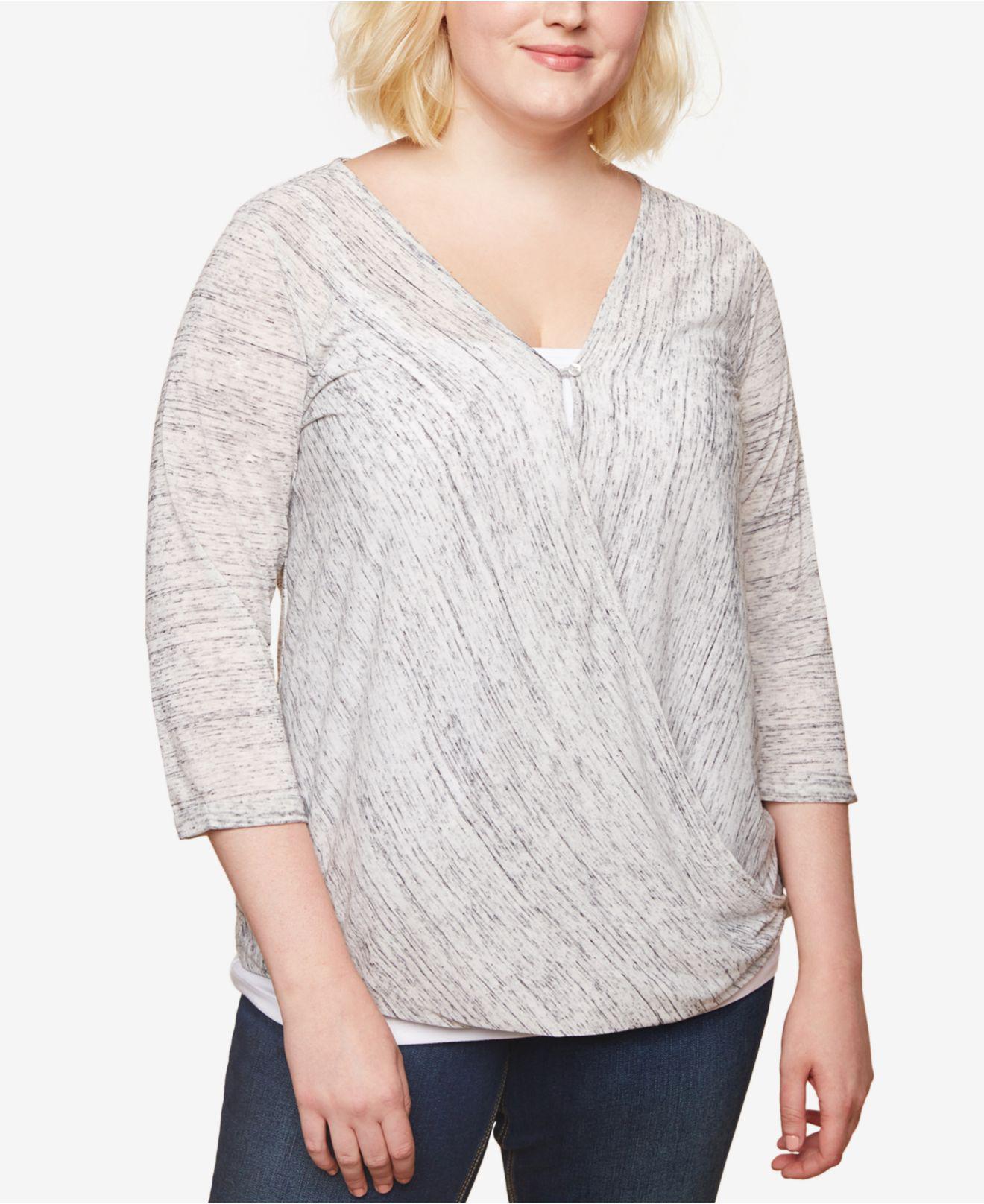 5885d617929 Lyst - Jessica Simpson Plus Size Draped Nursing Top in Gray