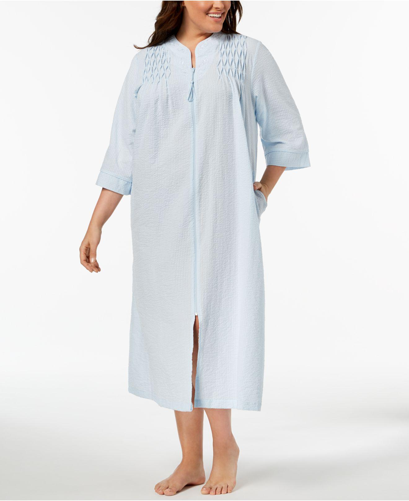 416b5ba346e32 Lyst - Miss Elaine Plus Size Embroidered Seersucker Zip Robe in Blue