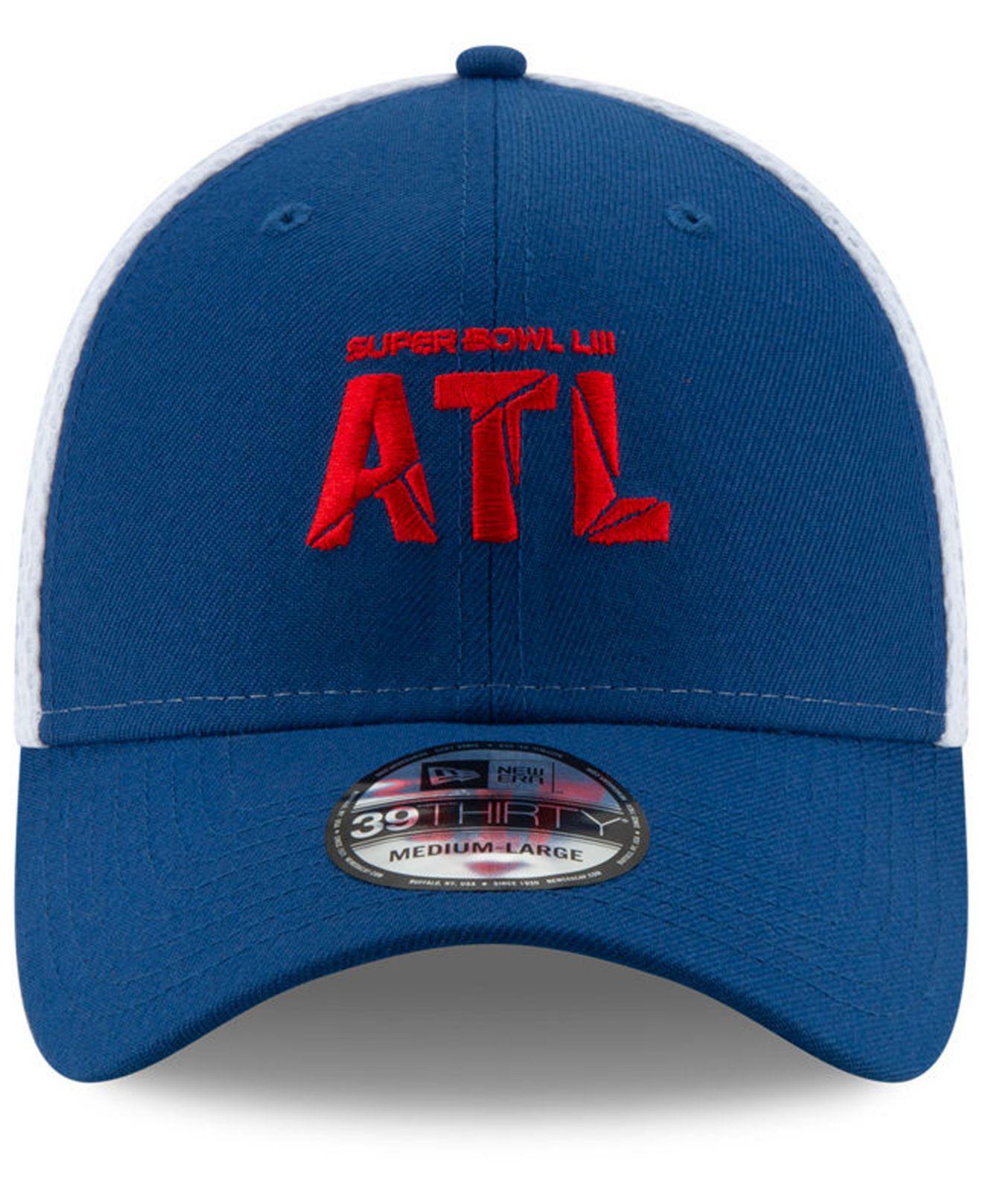 reputable site 550d9 fef11 Lyst - Ktz Super Bowl Liii Atlanta Stretch Mesh 39thirty Stretch Fitted Cap  in Blue for Men