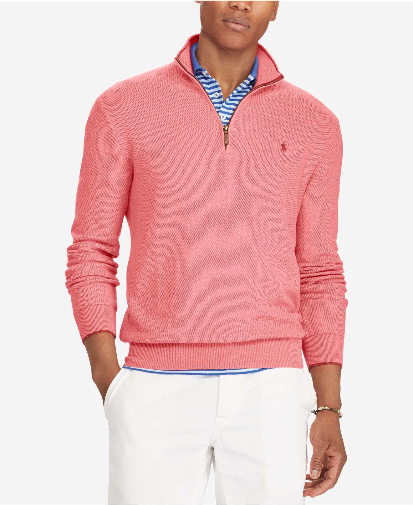 Polo ralph lauren Men's Half-zip Sweater in Pink for Men | Lyst