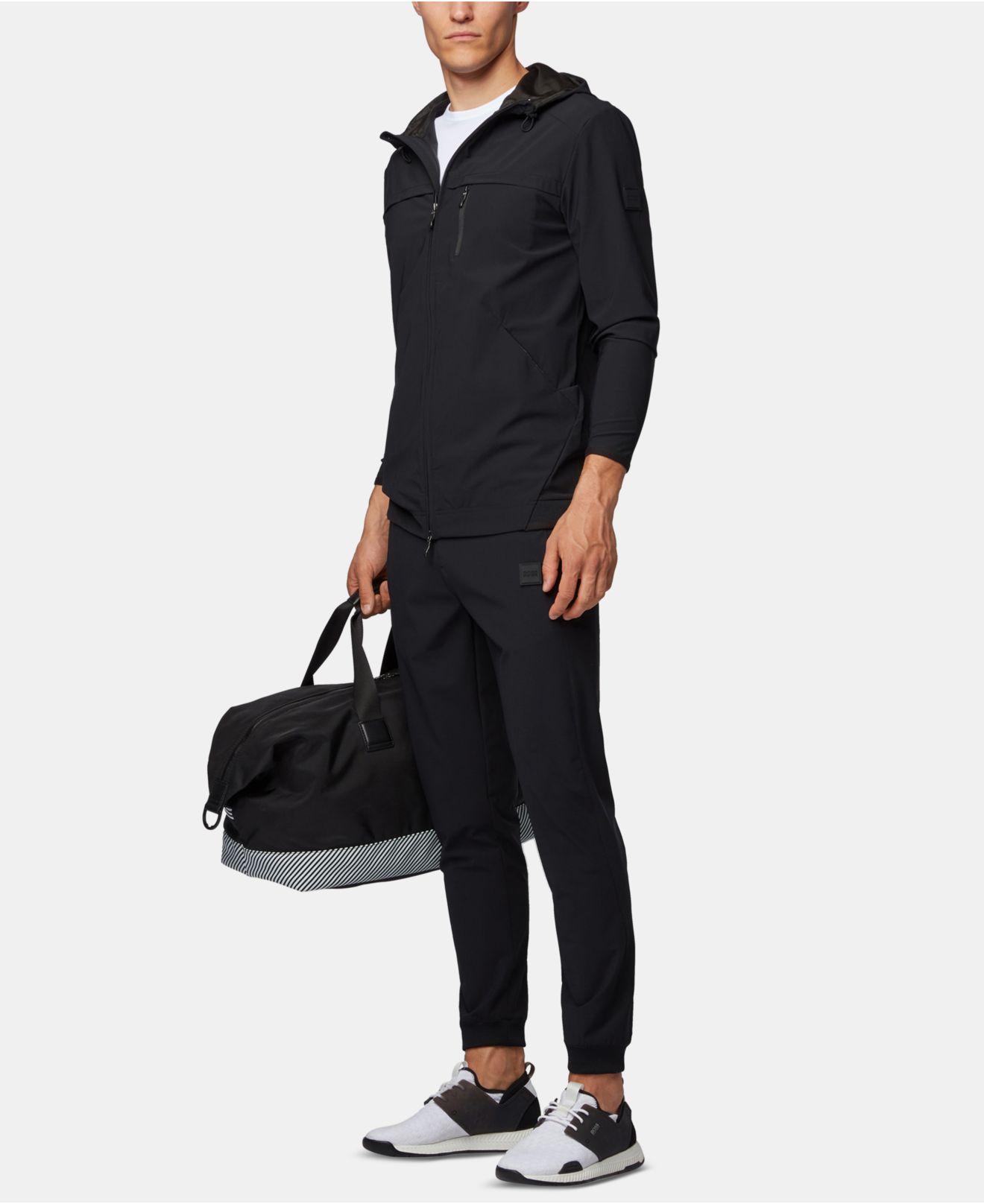 eda08b9c BOSS Swoven Hooded Zip-through Sweatshirt in Black for Men - Lyst