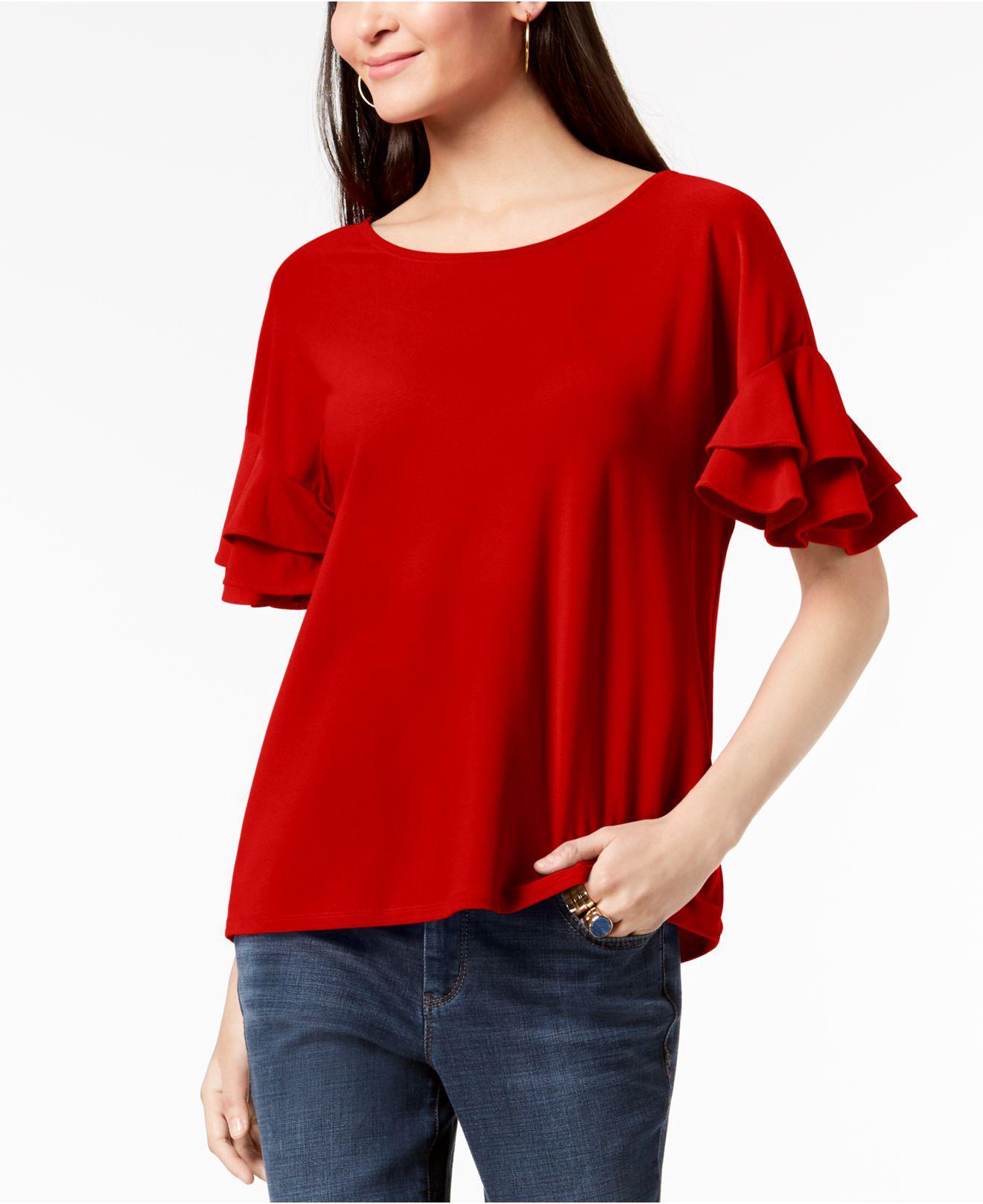 bb456033844e1 INC International Concepts. Women s Red I.n.c. Ruffled-sleeve Top ...