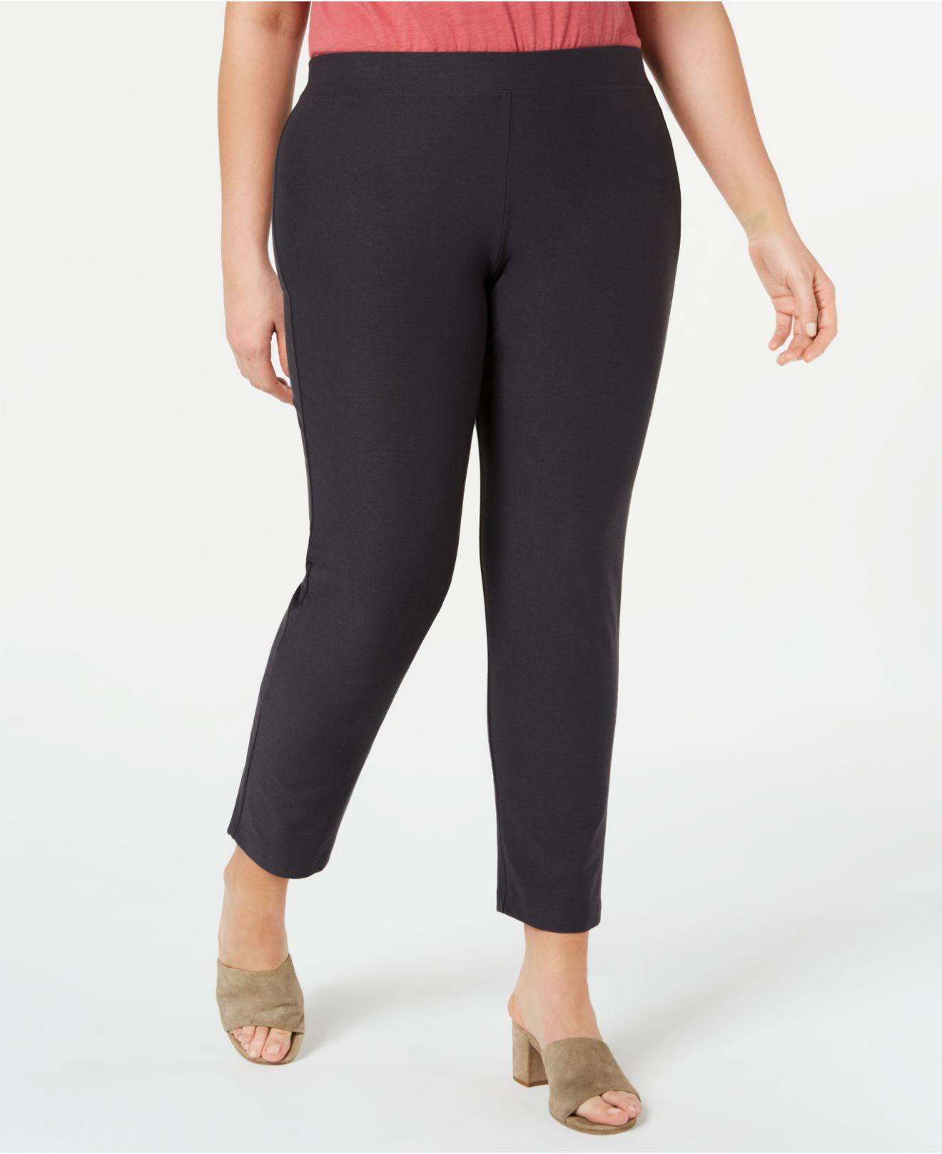 0aebb9f3ae1 Lyst - Eileen Fisher Plus Size Slim Ankle Pants in Black