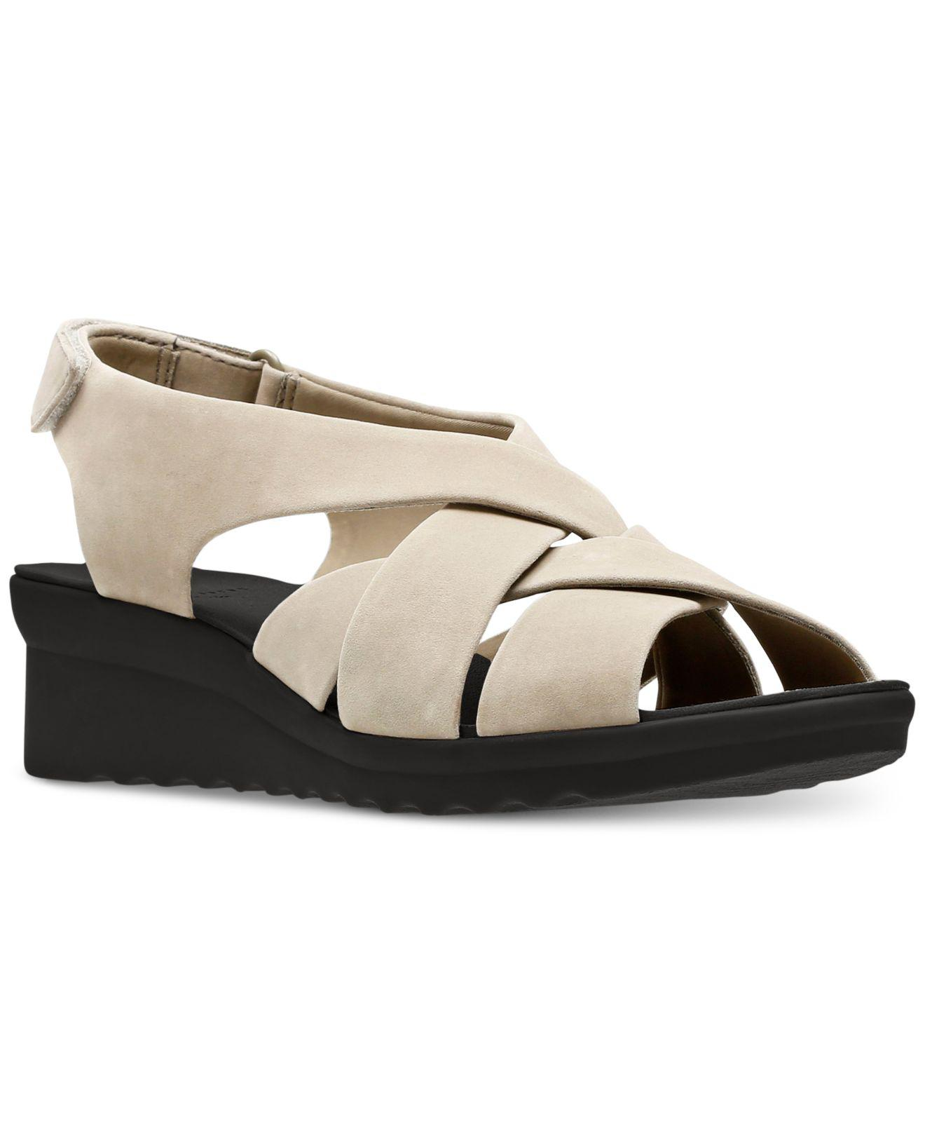 f4998f76ad2 Lyst - Clarks Cloudsteppers Caddell Jena Wedge Sandals