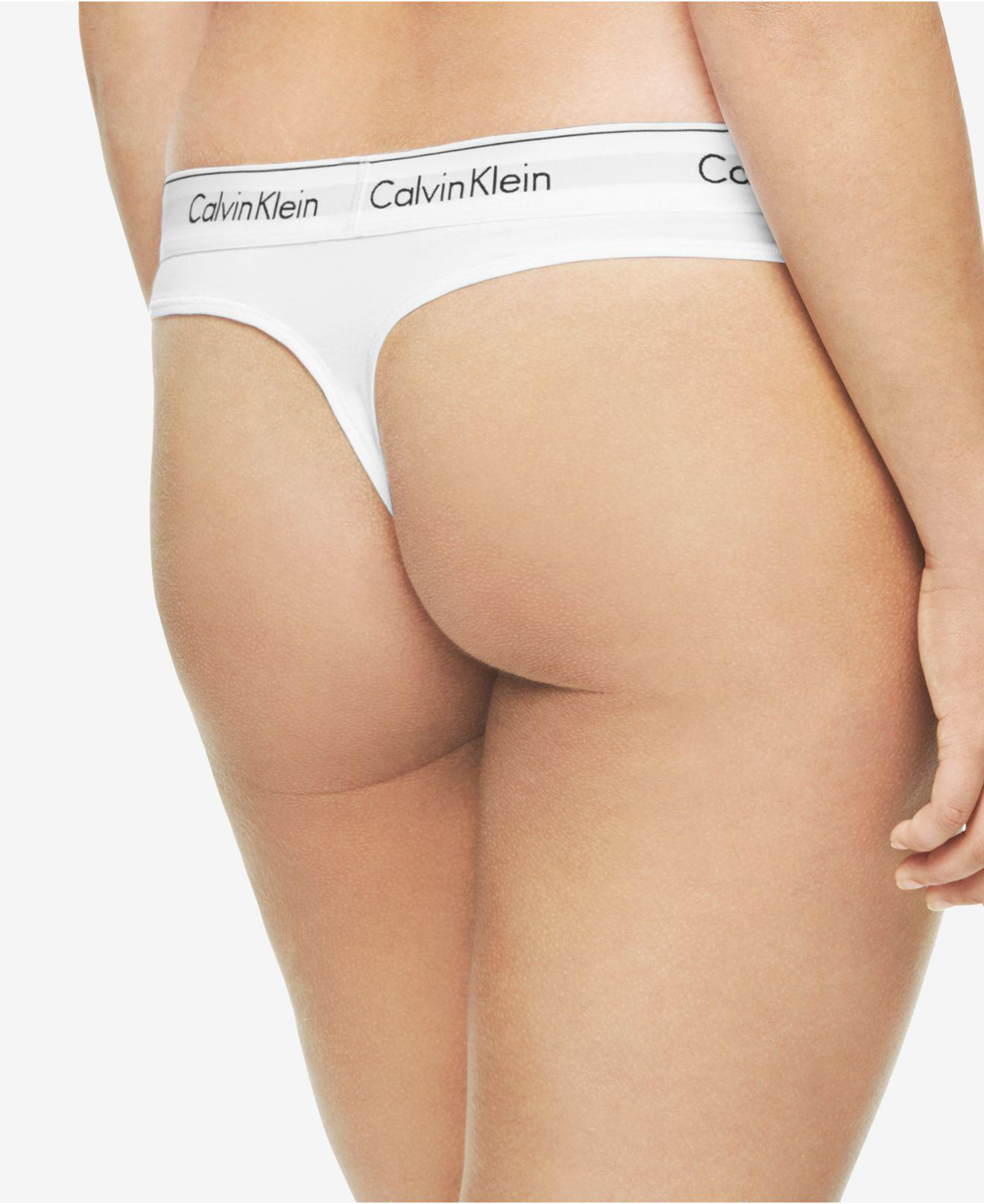 21edbe614fe Lyst - Calvin Klein Plus Size Modern Cotton Thong Qf5117 in White