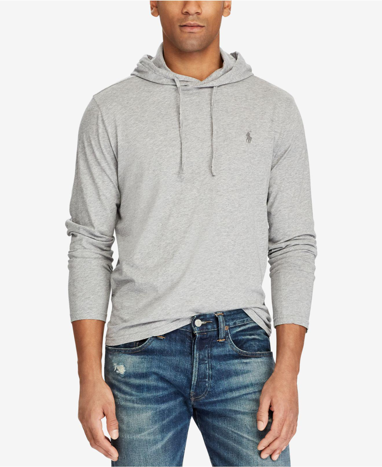 e5afbd4508a5 Lyst - Polo Ralph Lauren Men s Jersey T-shirt Hoodie in Gray for Men - Save  29%
