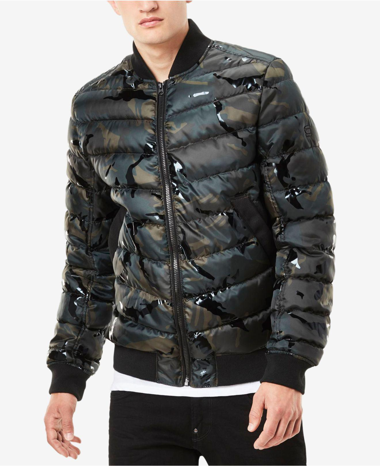 g star raw men 39 s meefic quilted camouflage overshirt bomber jacket in black for men lyst. Black Bedroom Furniture Sets. Home Design Ideas