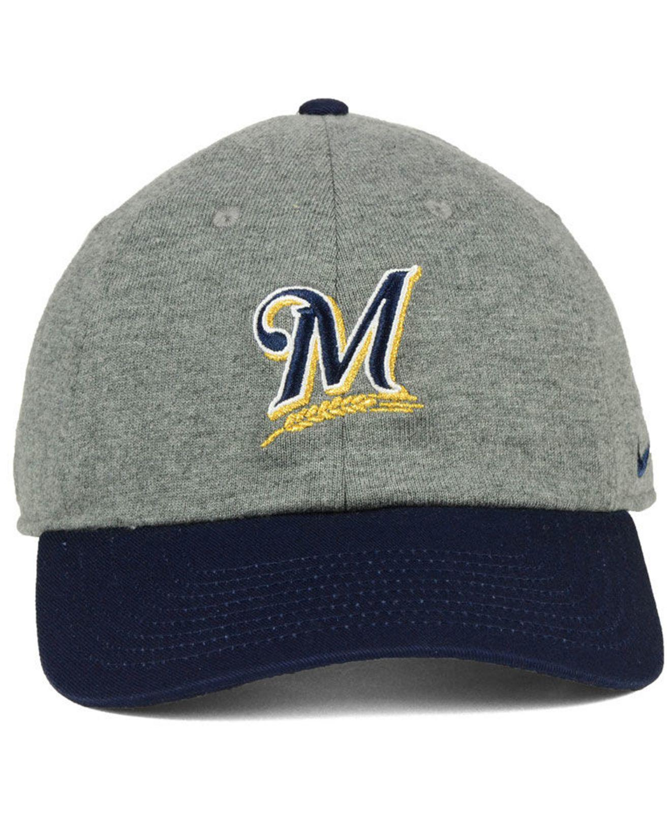 e0083c76830a3 ... coupon for lyst nike milwaukee brewers 2 tone heather cap in gray for  men dd7fd fbc7e