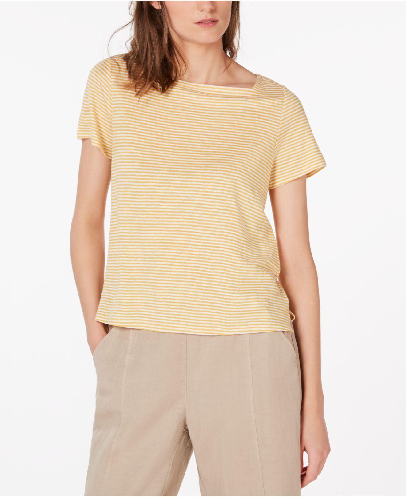 7d025696fbf Lyst - Eileen Fisher Square-neck Short-sleeve Striped Jersey Linen ...